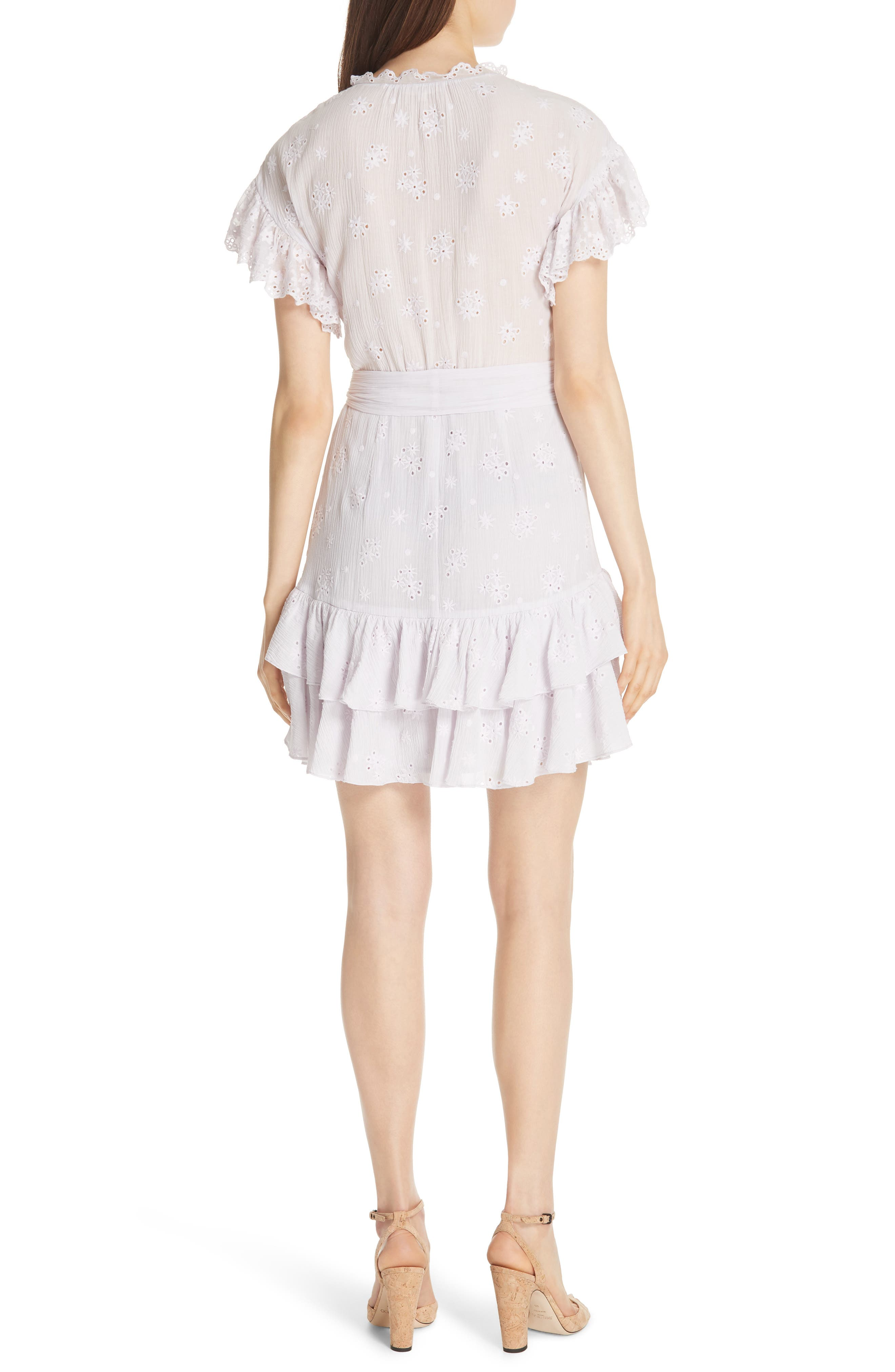 Dree Embroidered Ruffle Dress,                             Alternate thumbnail 2, color,                             Faded Lavender