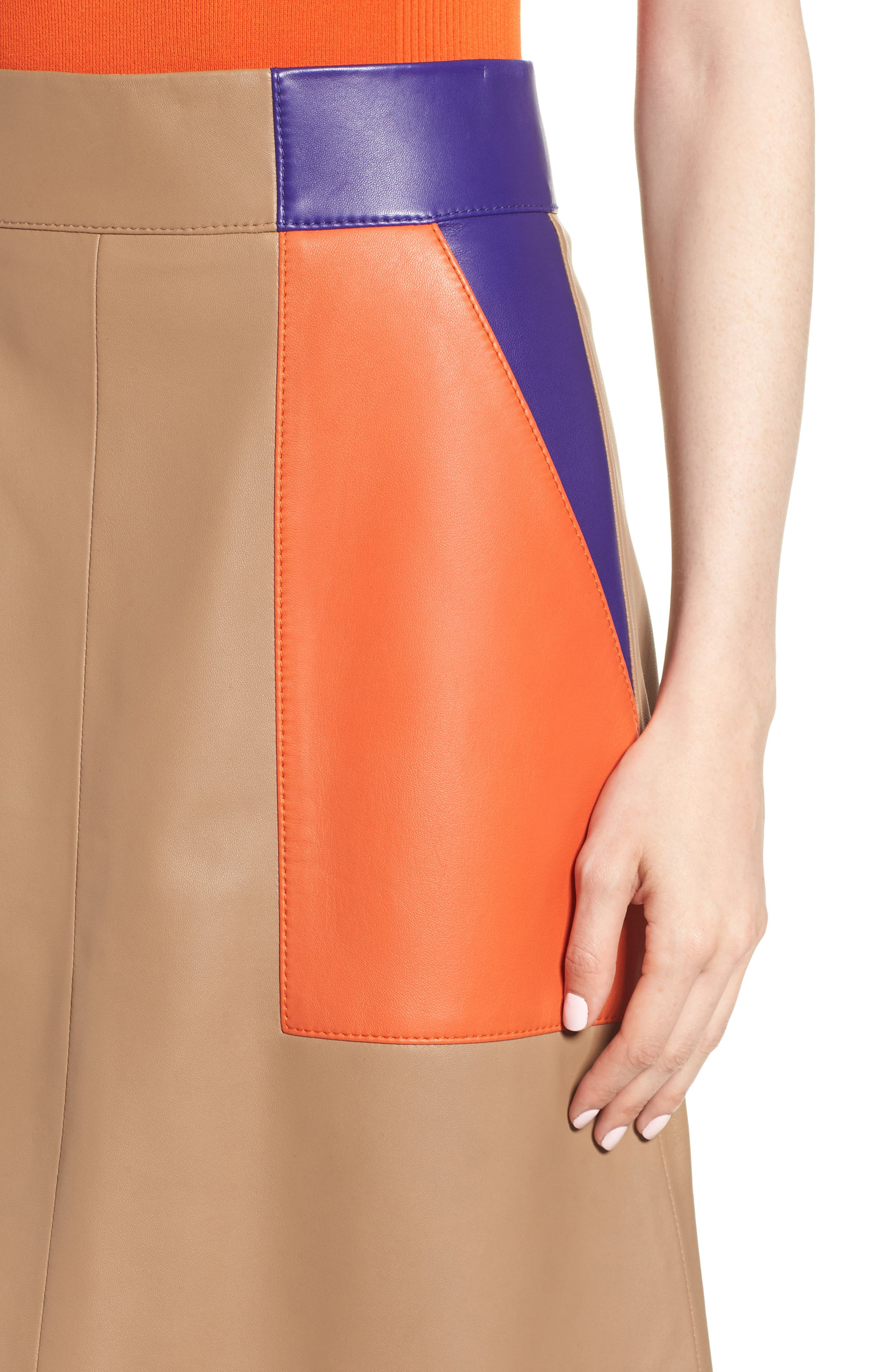 Seplea Colorblock Leather Skirt,                             Alternate thumbnail 4, color,                             Warm Clay Fantasy