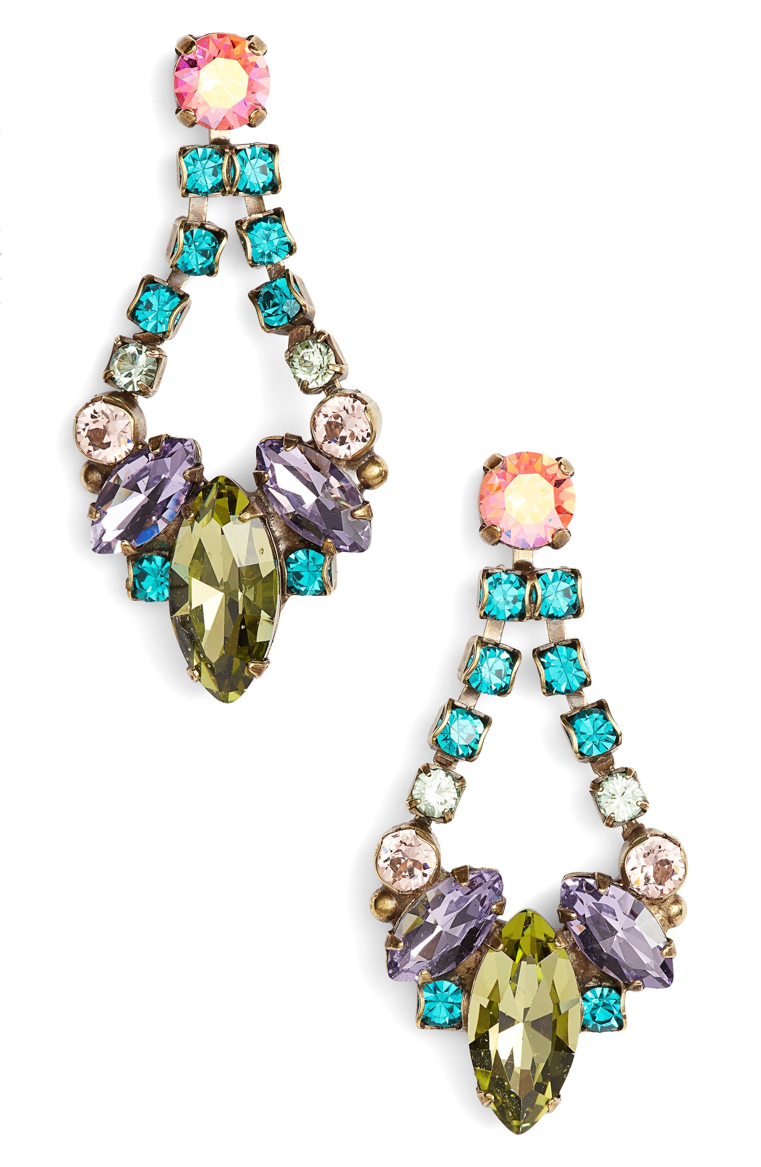 Noveau Navette Crystal Drop Earrings,                             Main thumbnail 1, color,                             Green Multi