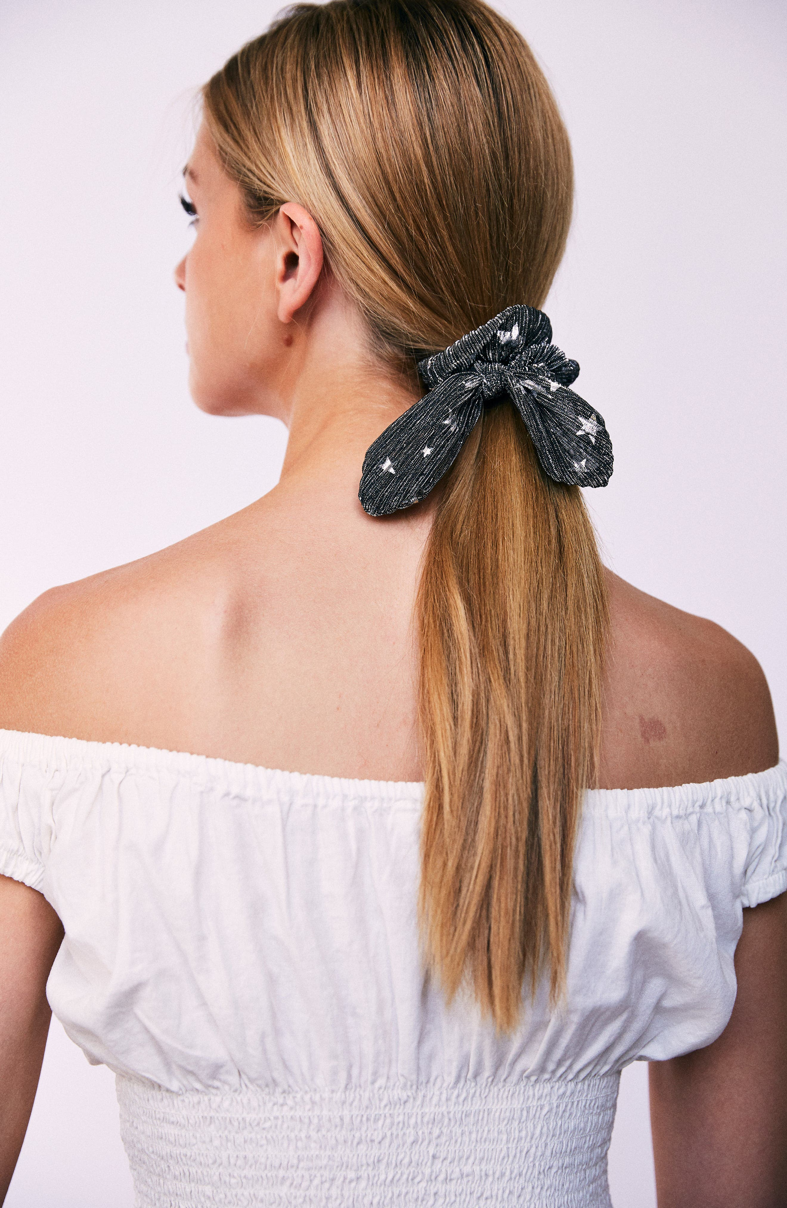 Foil Print Bunny Scrunchie,                             Alternate thumbnail 2, color,                             Black/ Silver