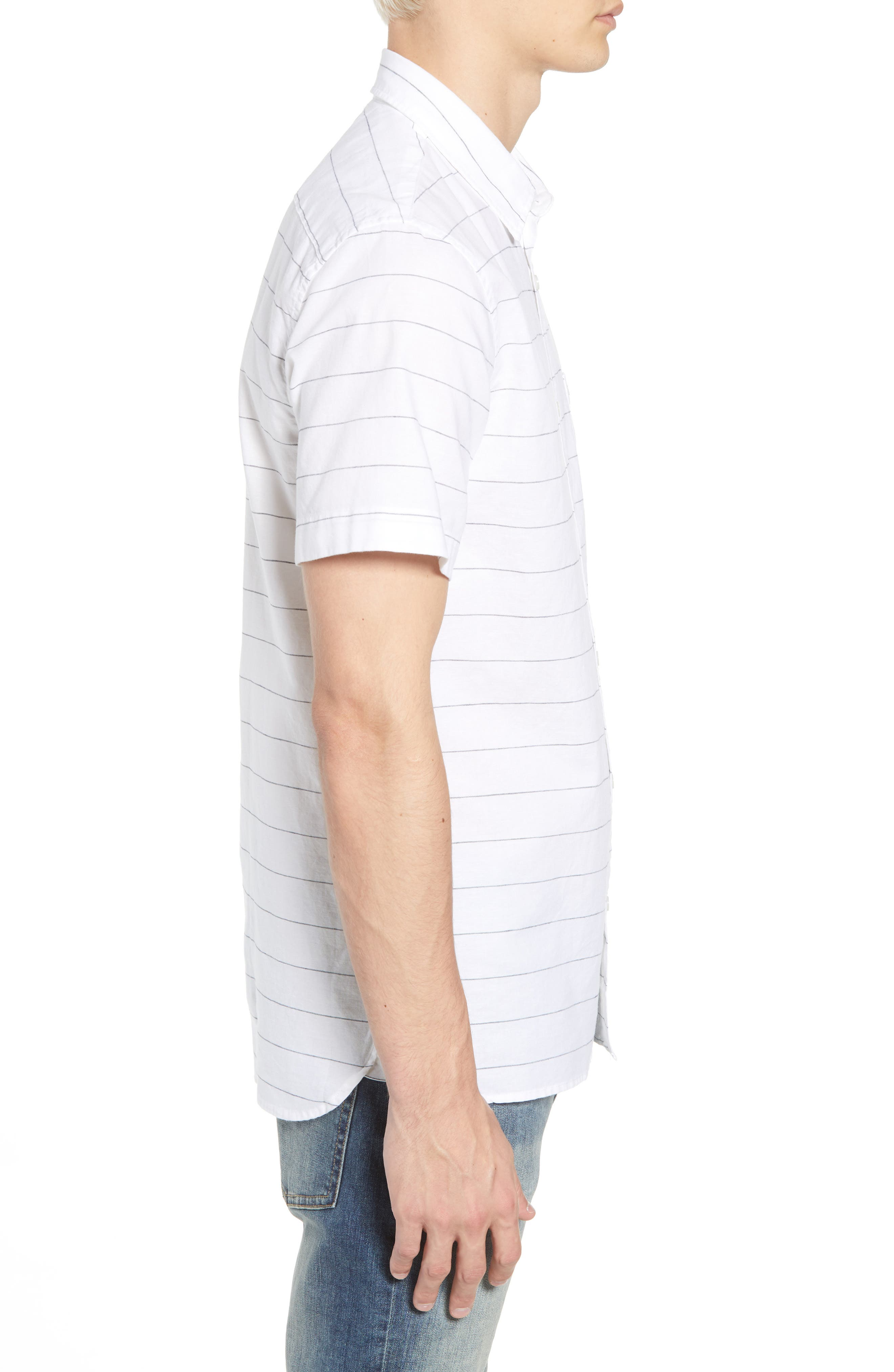Slim Fit Stripe Cotton & Linen Sport Shirt,                             Alternate thumbnail 4, color,                             White