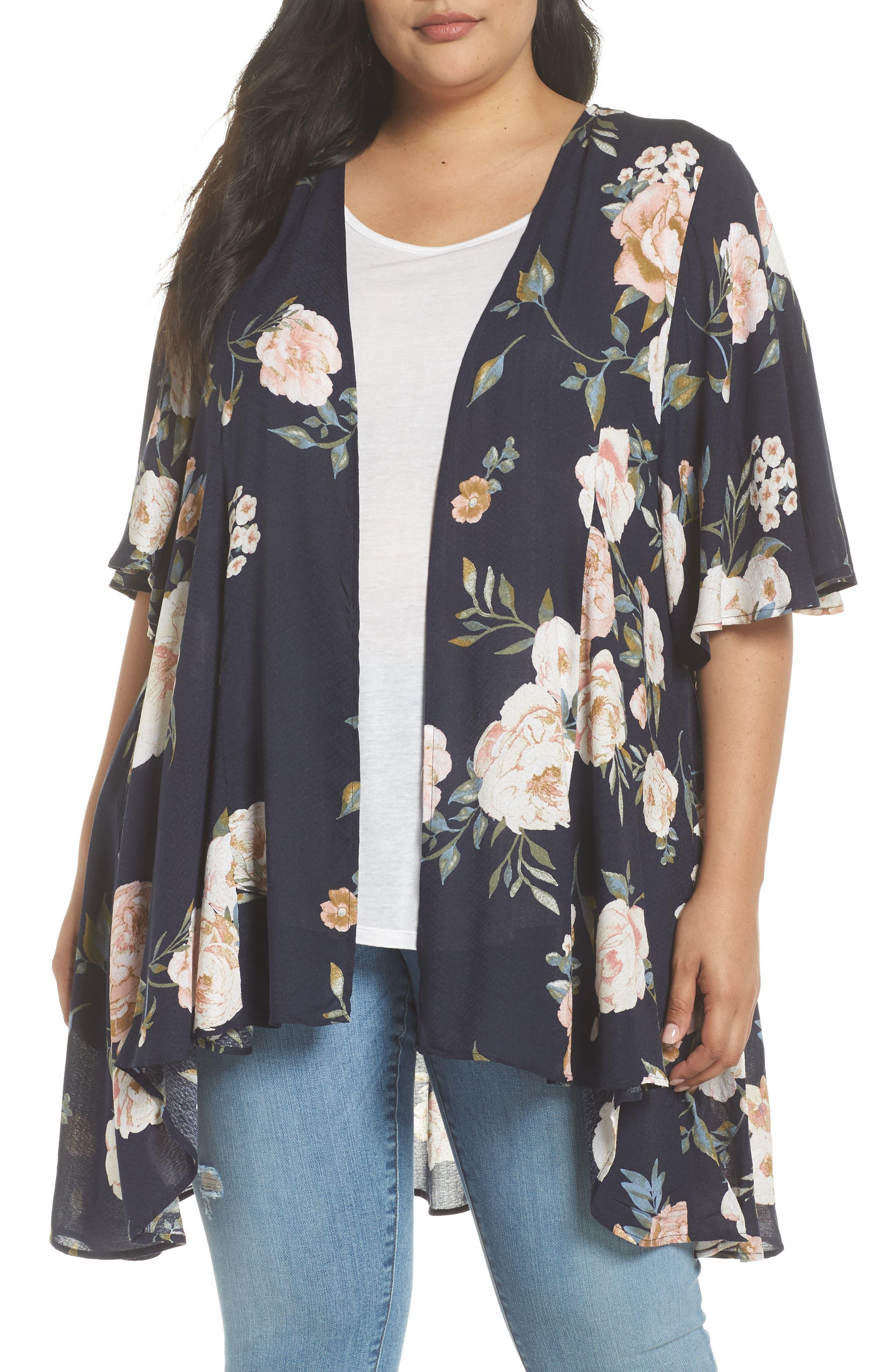 Love, Fire Floral Print Kimono Jacket (Plus Size)