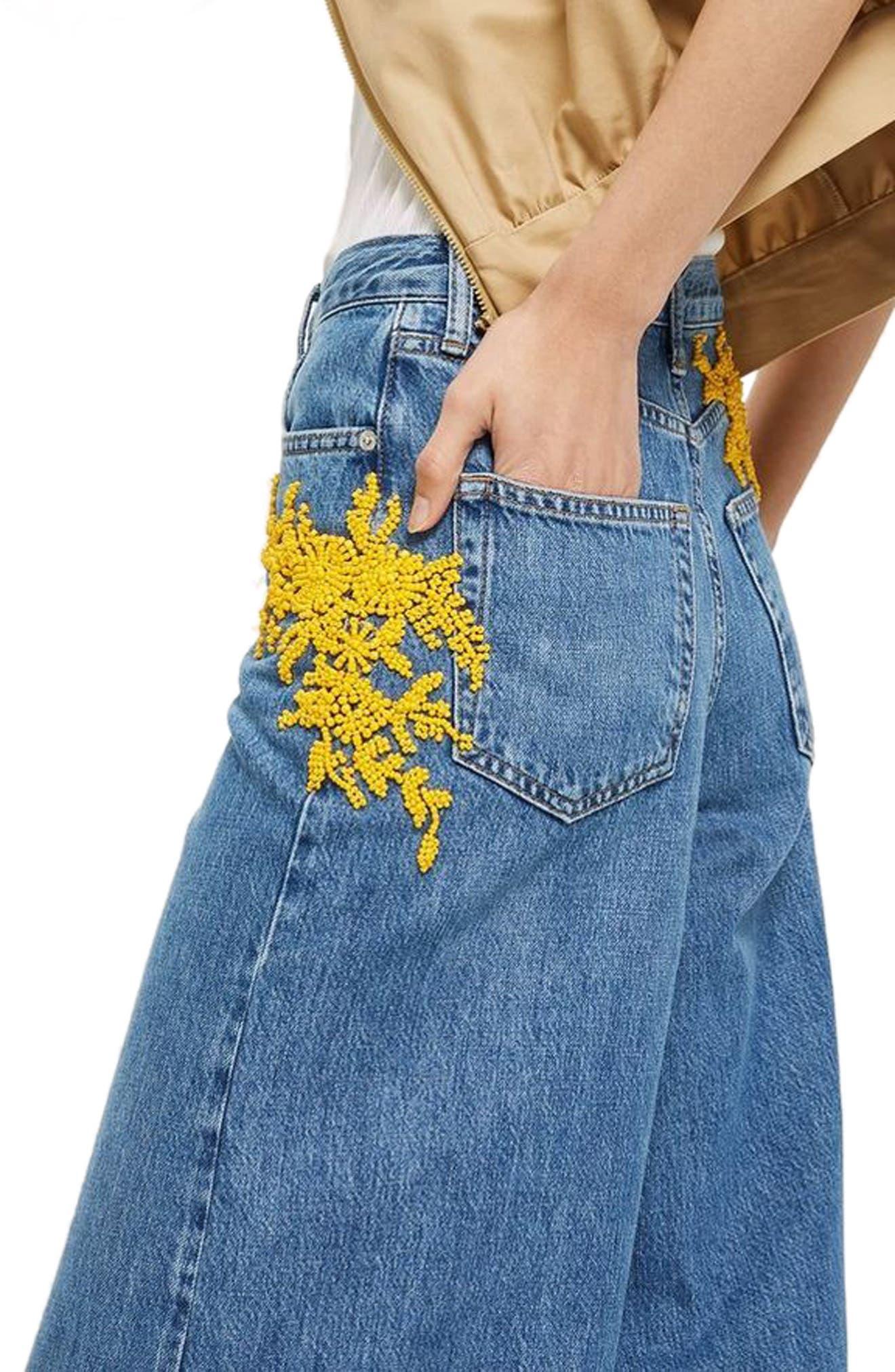 MOTO Bead Detail Wide Leg Non-Stretch Jeans,                             Alternate thumbnail 3, color,                             Mid Denim