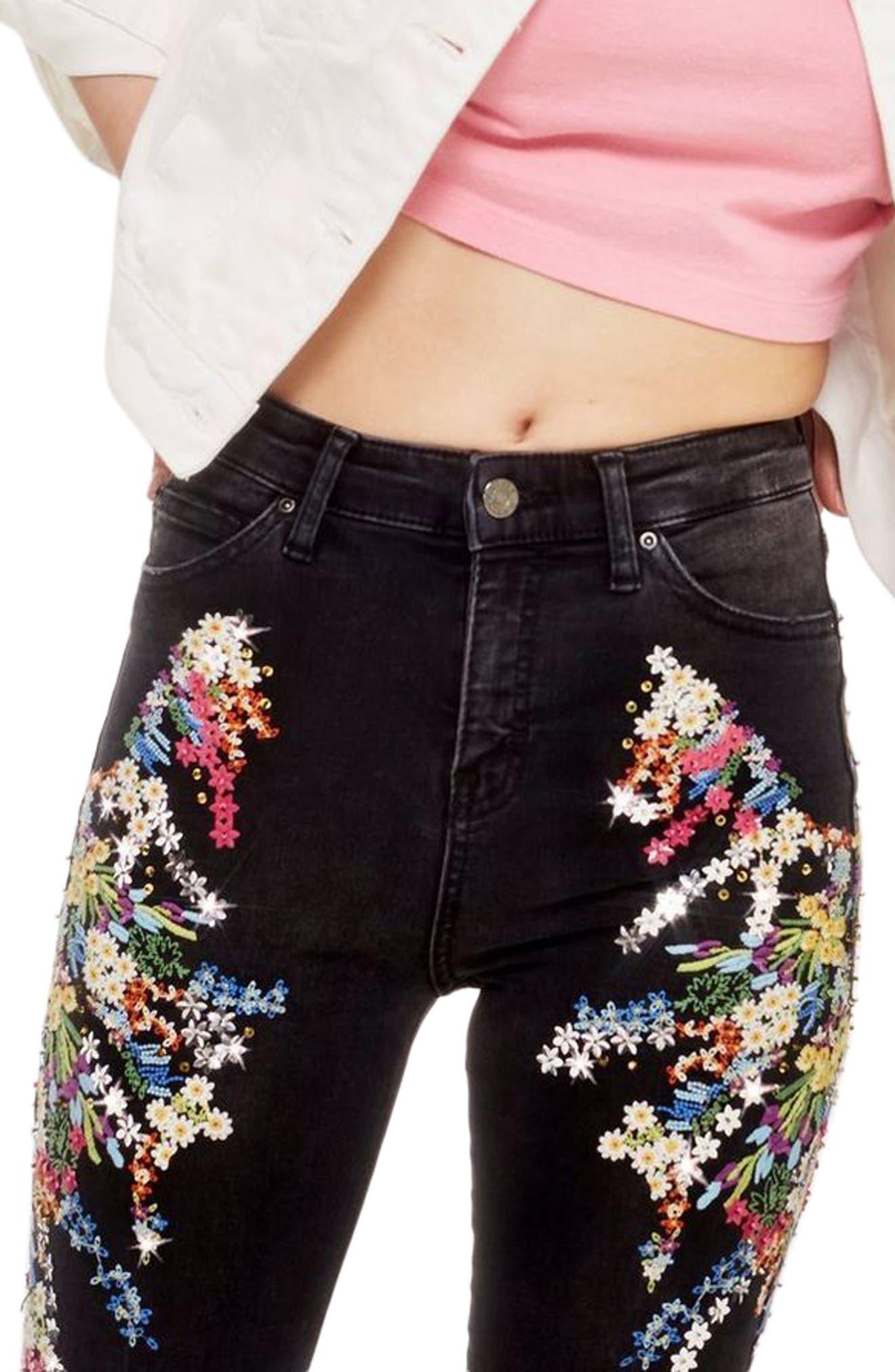 MOTO Jamie Ditsy Embellished Jeans,                             Alternate thumbnail 3, color,                             Black Multi