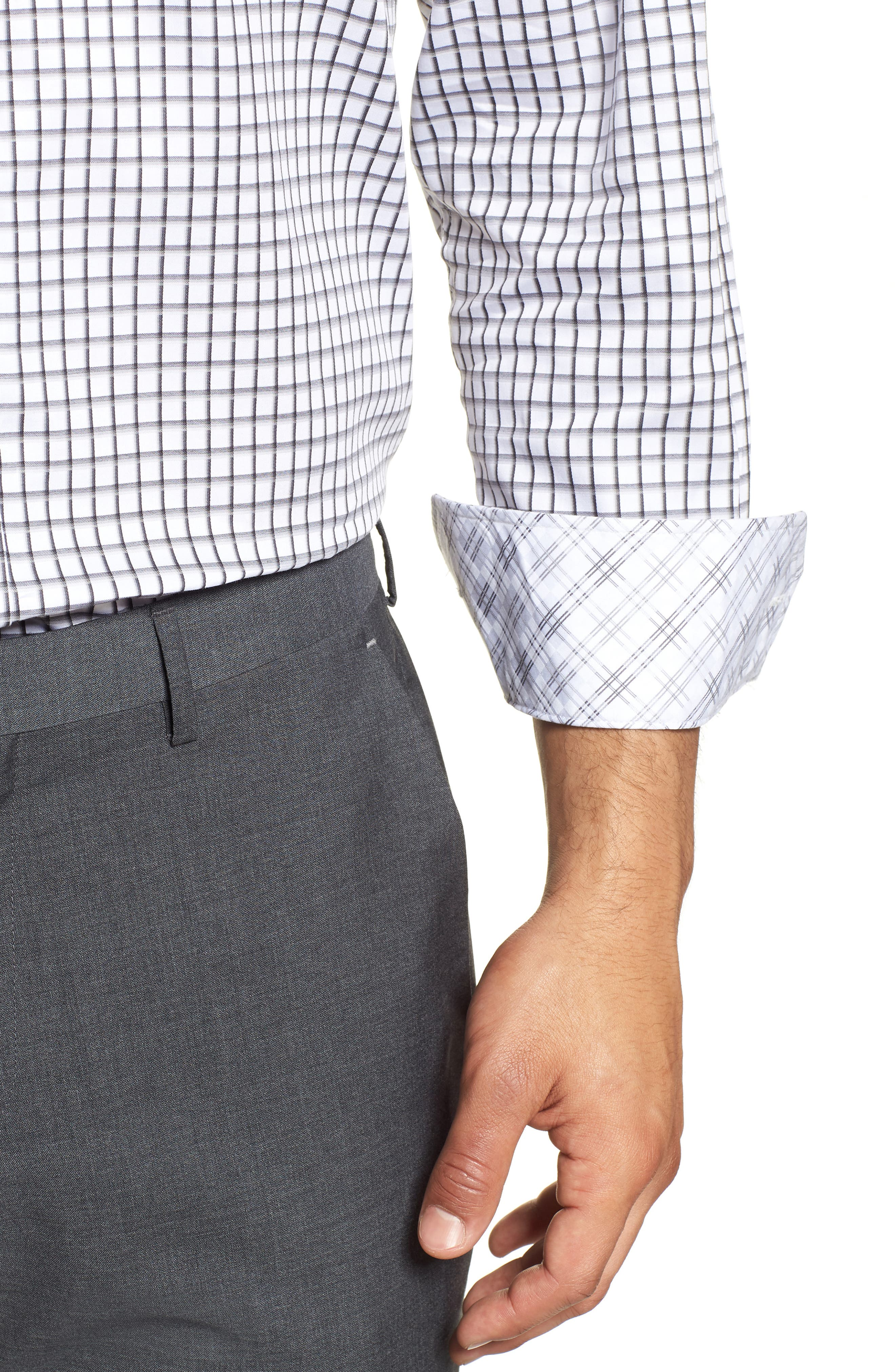 Regular Fit Check Dress Shirt,                             Alternate thumbnail 2, color,                             Grey