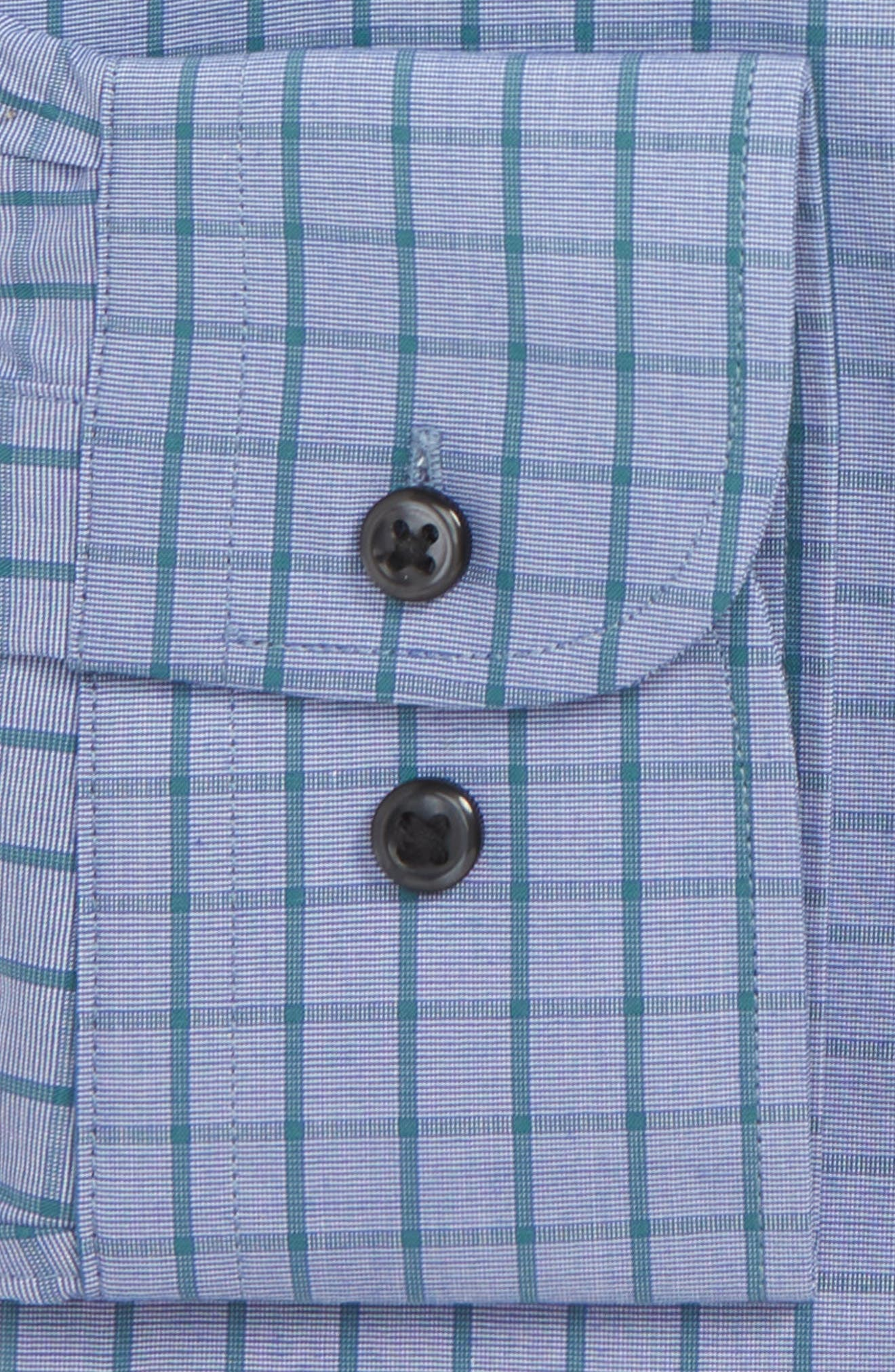 Tech-Smart Traditional Fit Stretch Check Dress Shirt,                             Alternate thumbnail 5, color,                             Teal Hydro