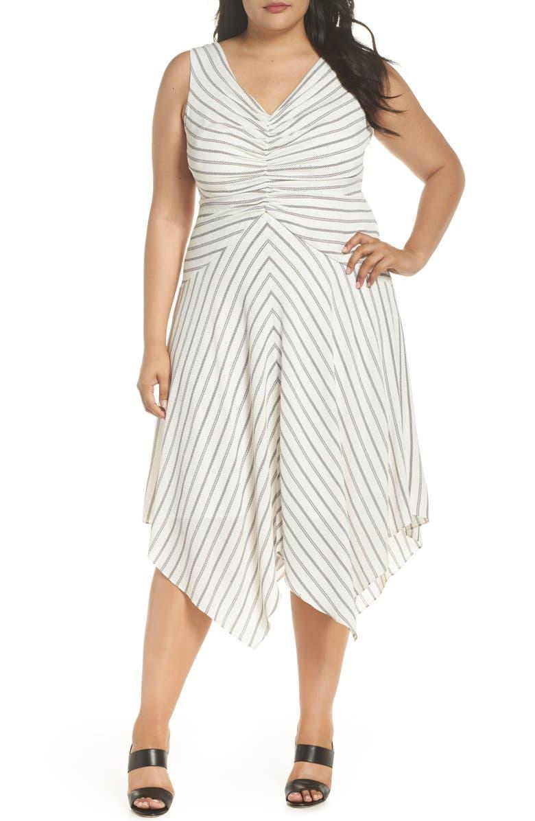 Stripe Ruched Handkerchief Hem Dress