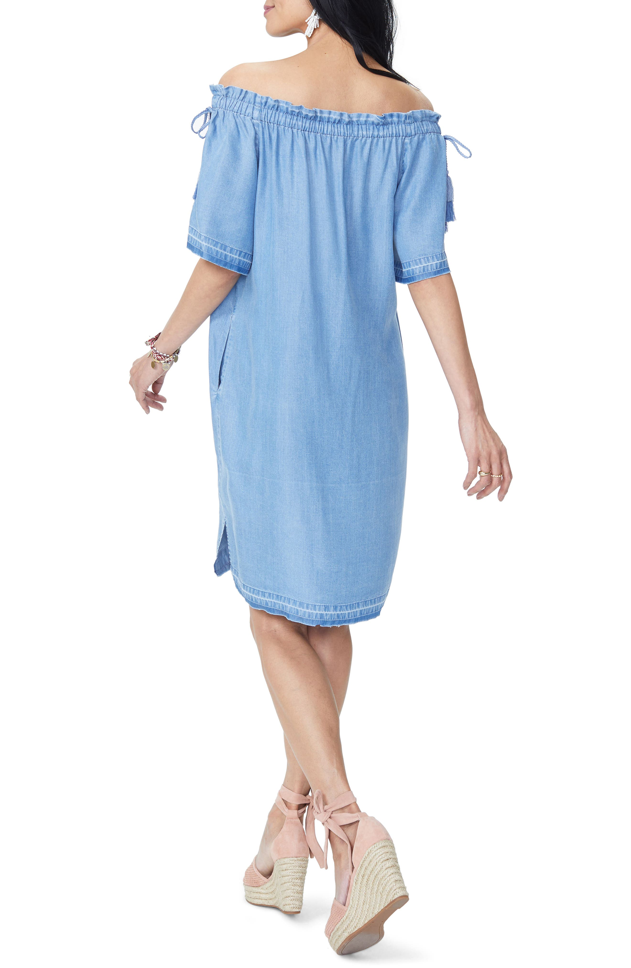 Off the Shoulder Tassel Tie Chambray Dress,                             Alternate thumbnail 2, color,                             Low Tide Wash