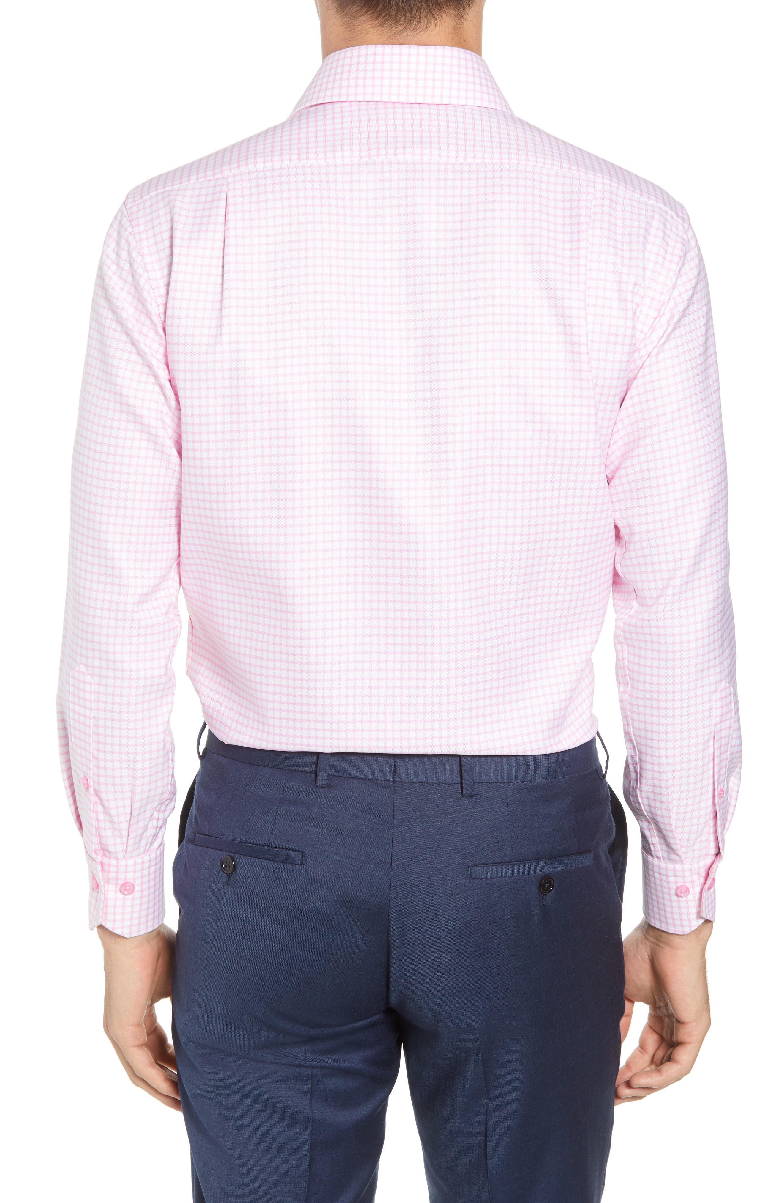 Trim Fit Check Dress Shirt,                             Alternate thumbnail 3, color,                             Pink/ White