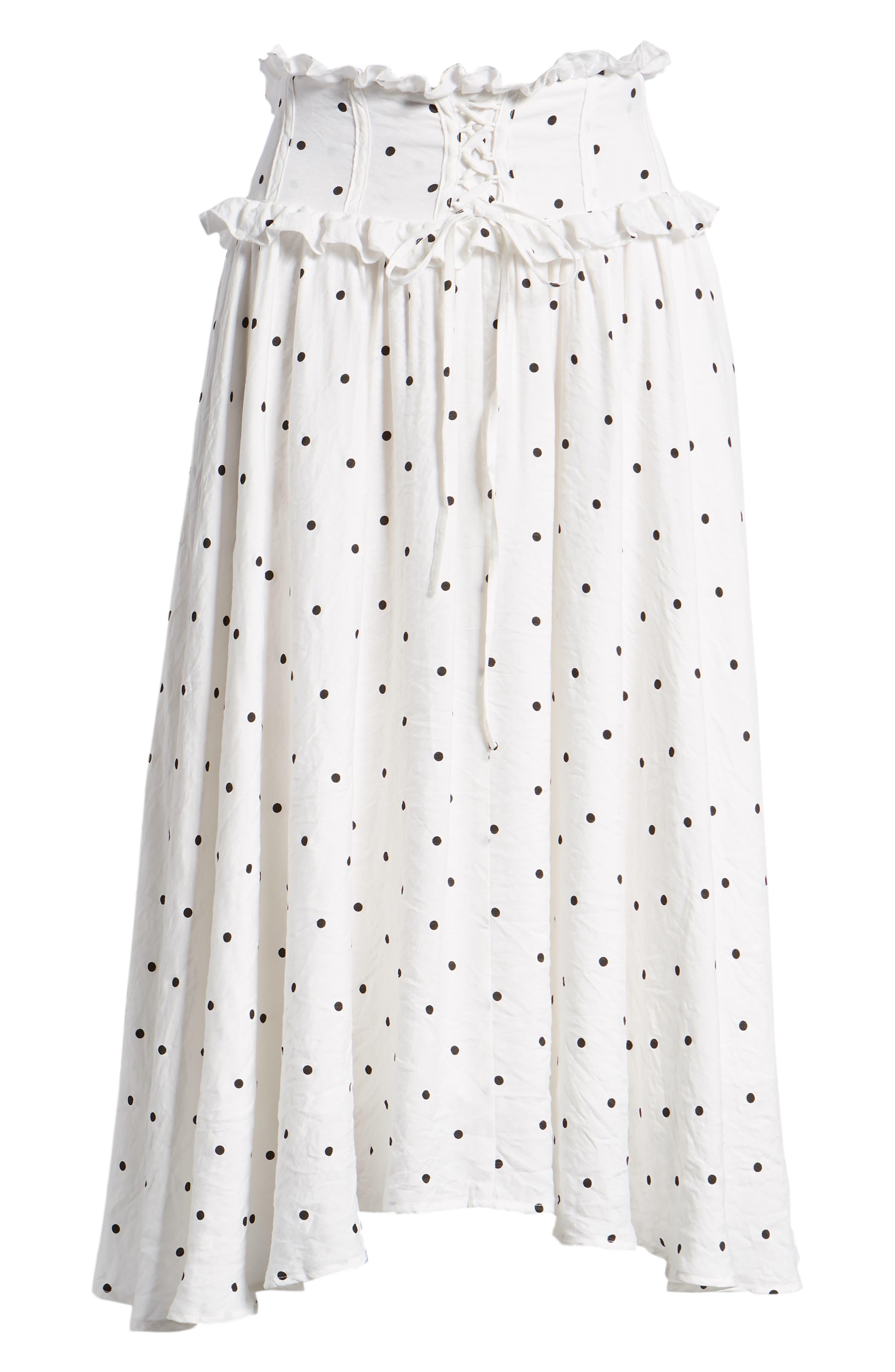 Lace-Up A-Line Skirt,                             Alternate thumbnail 7, color,                             Mono