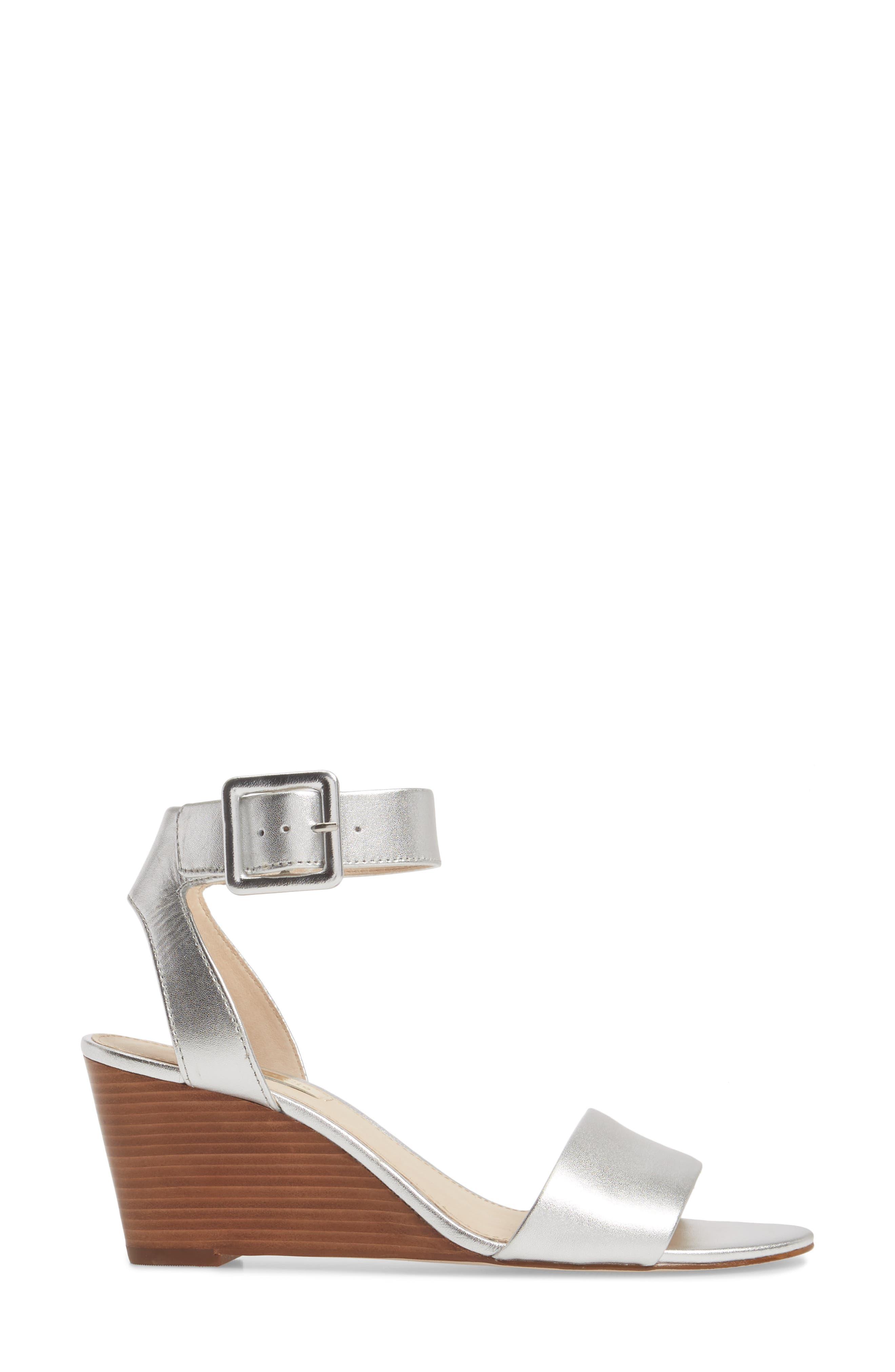 Punya Wedge Sandal,                             Alternate thumbnail 3, color,                             Metallic Silver Leather