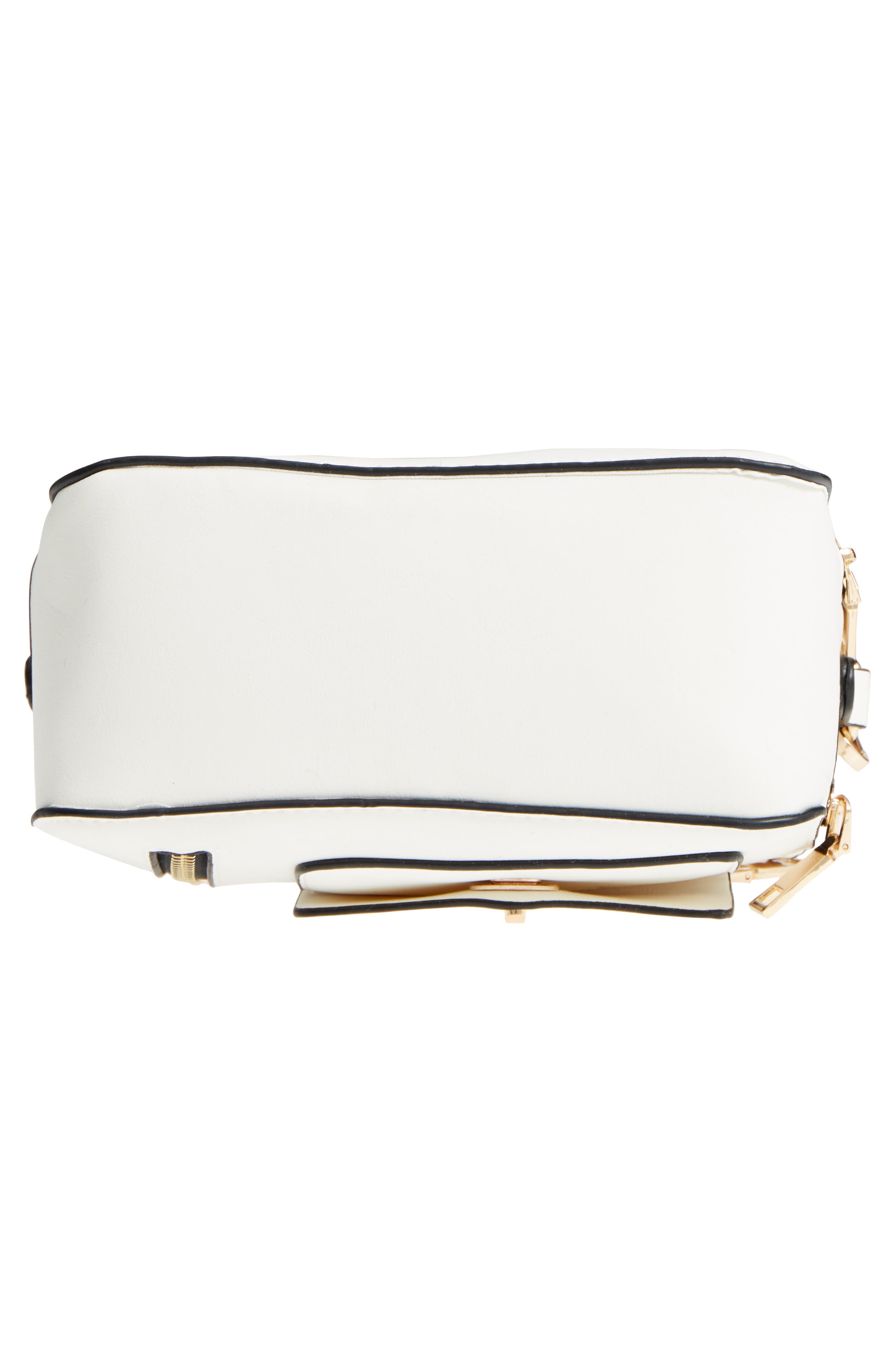 Multi-Zip Faux Leather Boxy Crossbody Bag,                             Alternate thumbnail 6, color,                             White