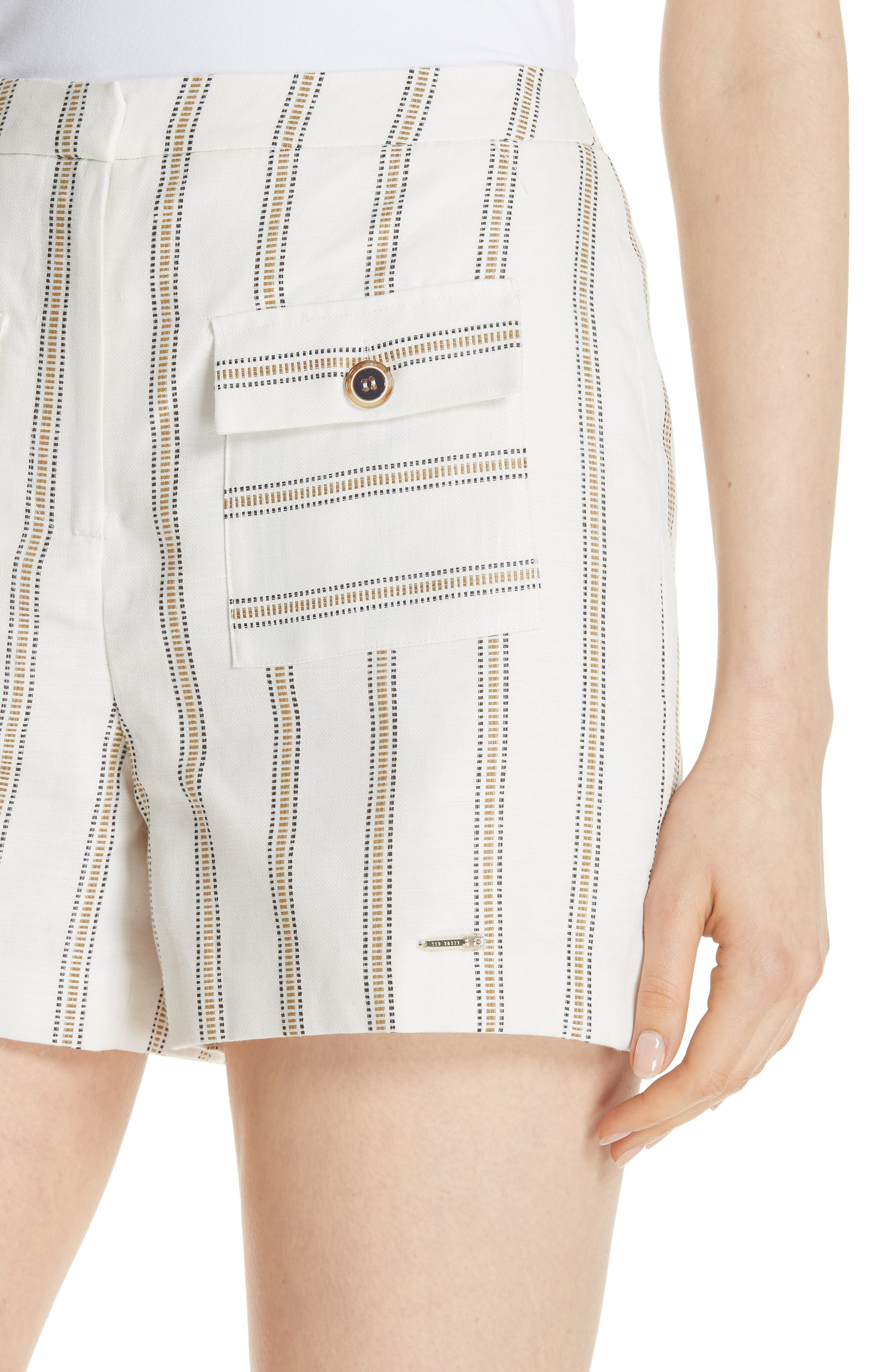 Colour by Numbers Helenn Stripe Shorts,                             Alternate thumbnail 4, color,                             Ivory