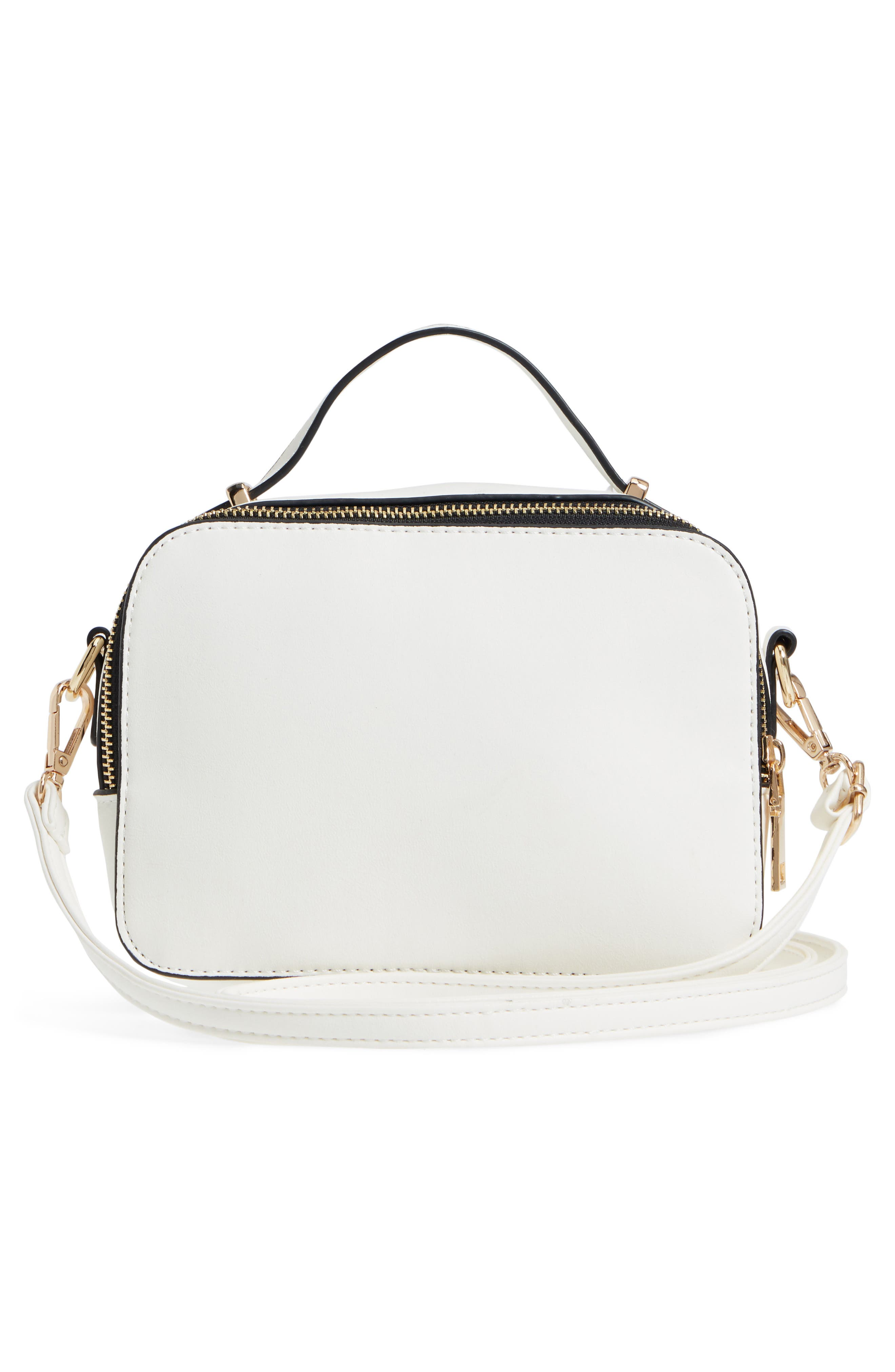 Multi-Zip Faux Leather Boxy Crossbody Bag,                             Alternate thumbnail 3, color,                             White