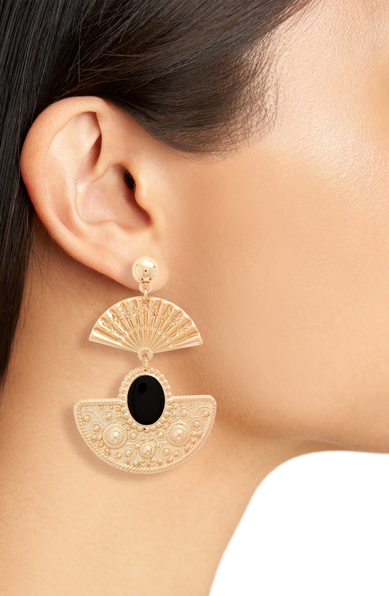 Fan Earrings,                             Alternate thumbnail 2, color,                             Gold/ Black
