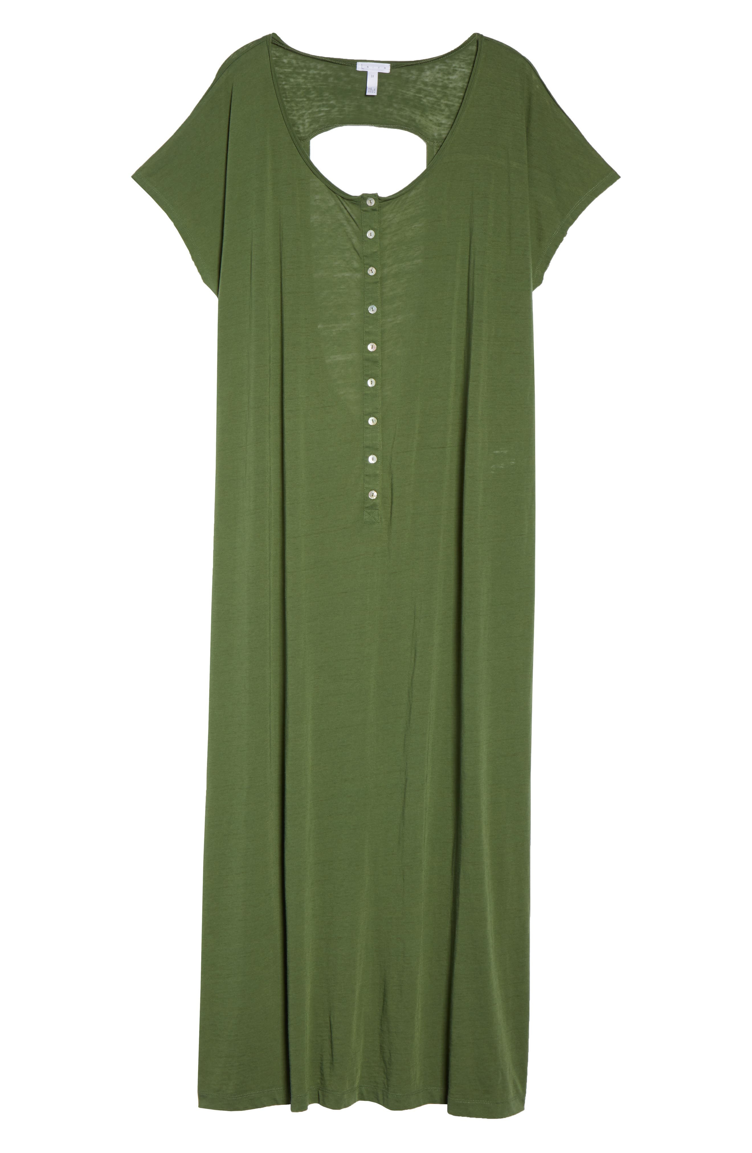 Henley Cover-Up Dress,                             Alternate thumbnail 6, color,                             Green Bronze