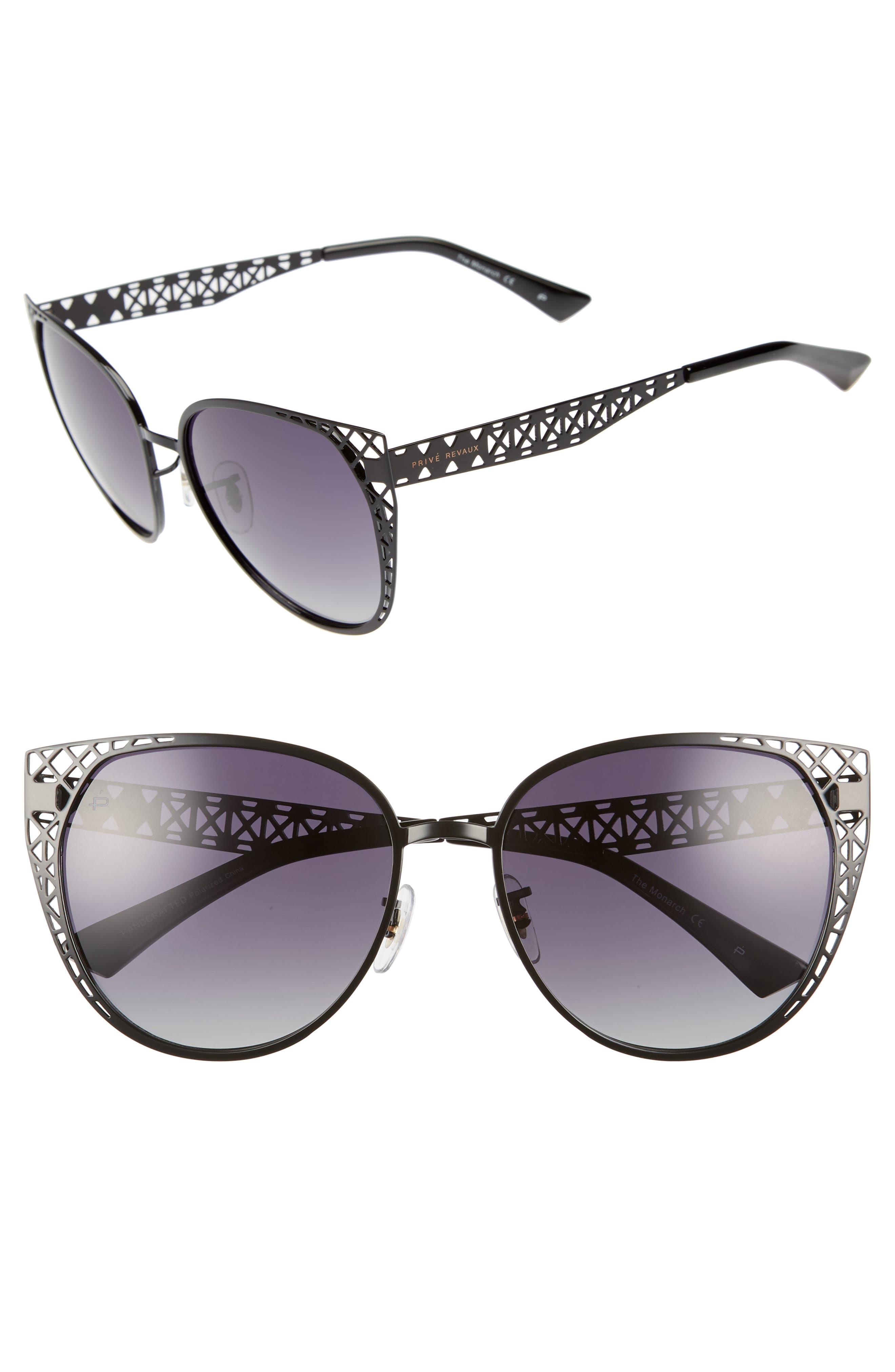 Privé Revaux The Monarch 57mm Cat Eye Sunglasses,                         Main,                         color, Black