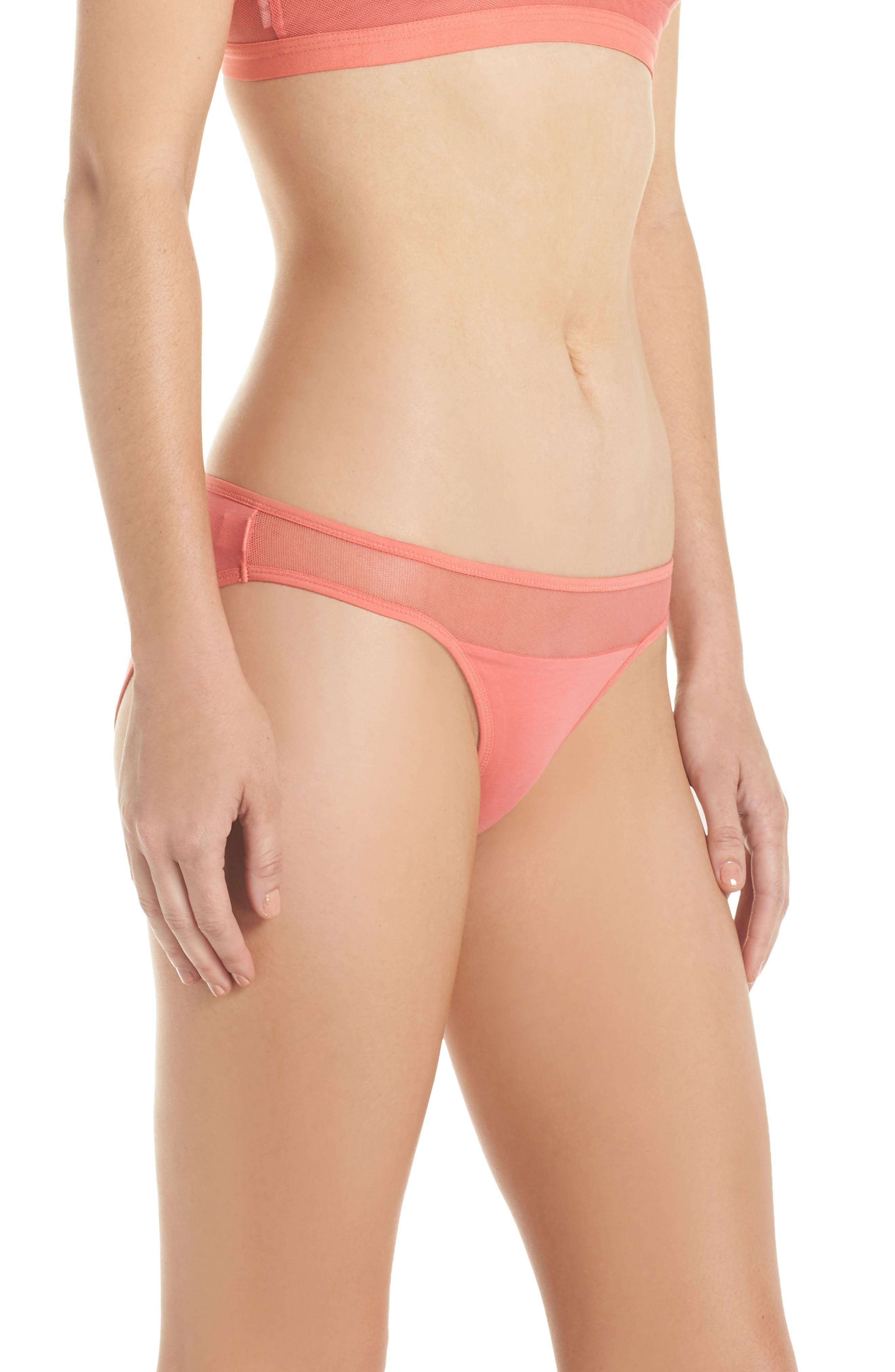 Onyx Tulle Bikini,                             Alternate thumbnail 3, color,                             Spiced Coral