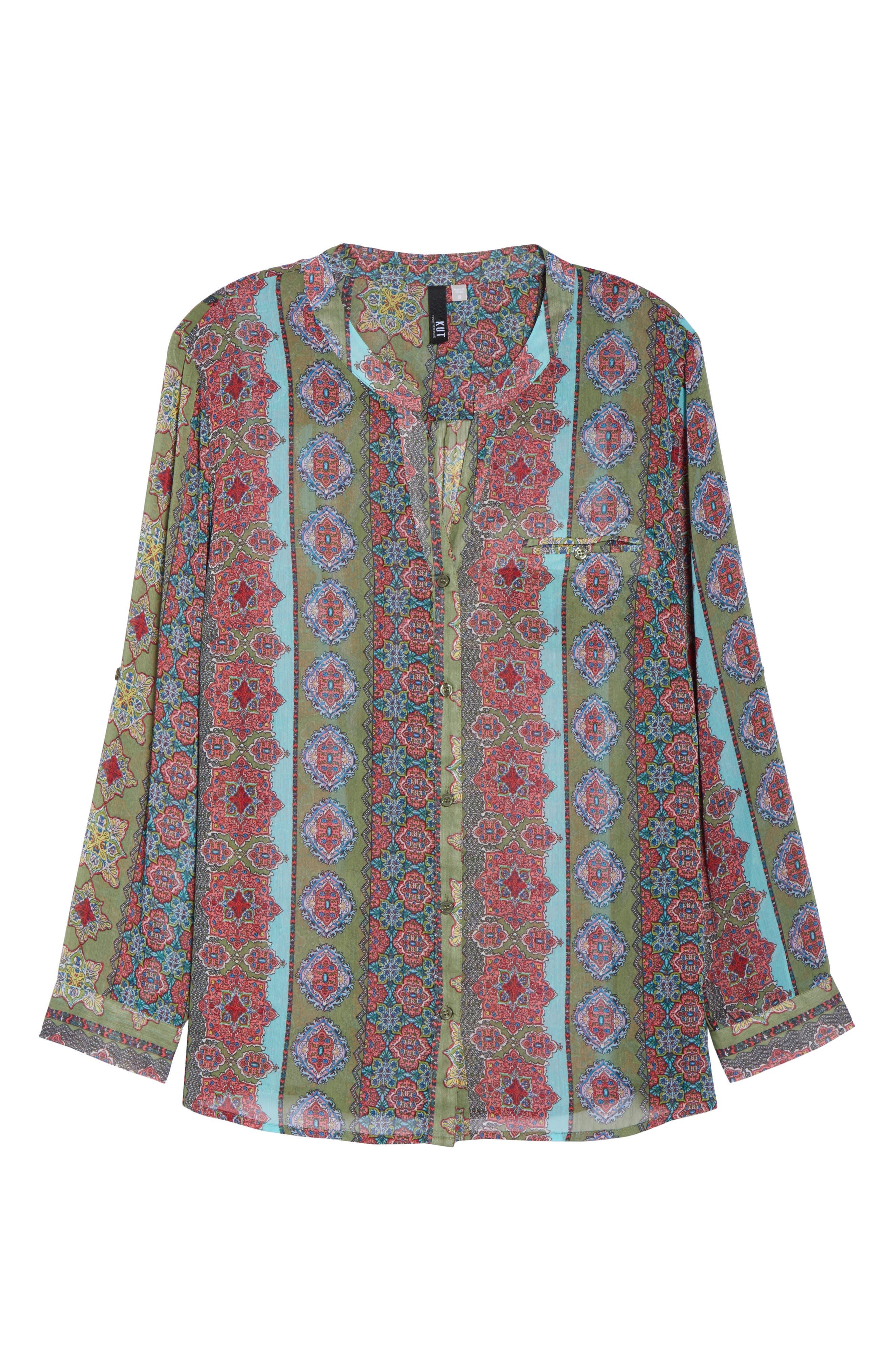 Jasmine Print Roll Sleeve Top,                             Alternate thumbnail 7, color,                             Olive/ Pink