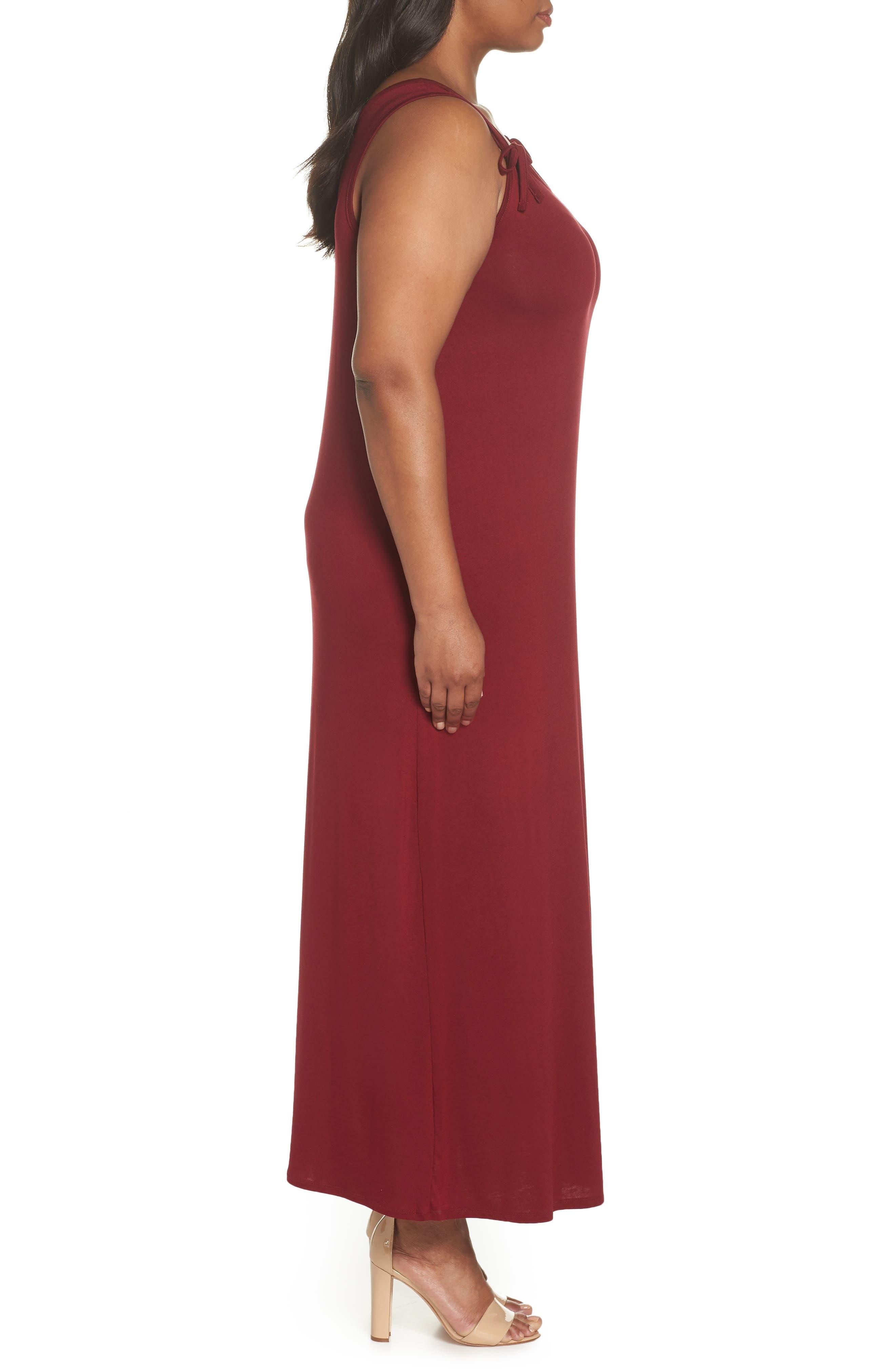 Tie Strap Knit Maxi Dress,                             Alternate thumbnail 3, color,                             Wine