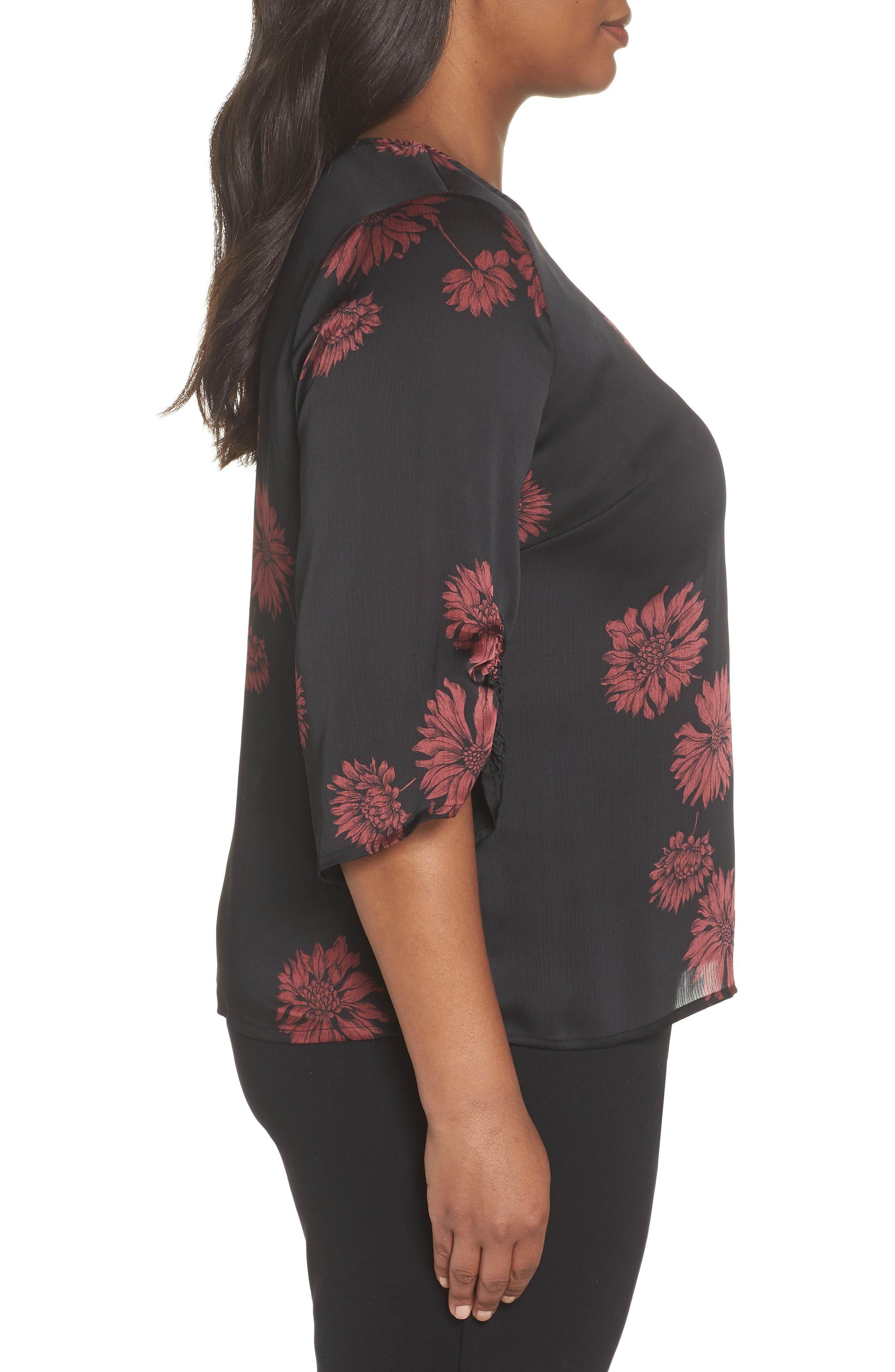 Chateau Floral Print Top,                             Alternate thumbnail 3, color,                             Rich Black