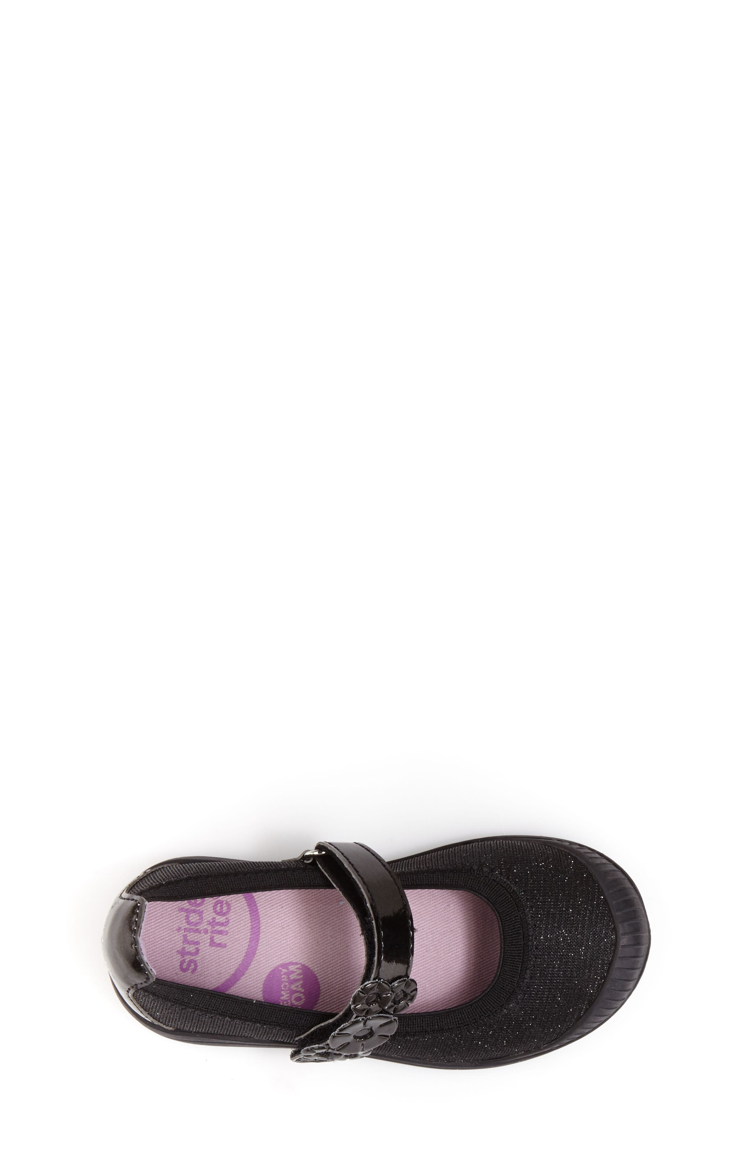 Layla Mary Jane Flat,                             Alternate thumbnail 5, color,                             Black Textile