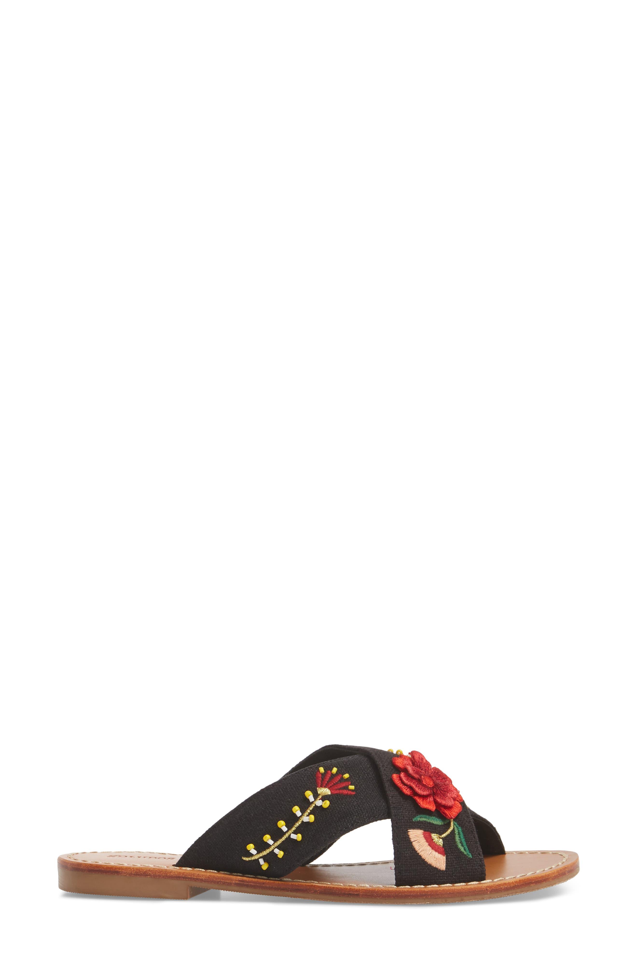 Embellished Floral Sandal,                             Alternate thumbnail 3, color,                             Black