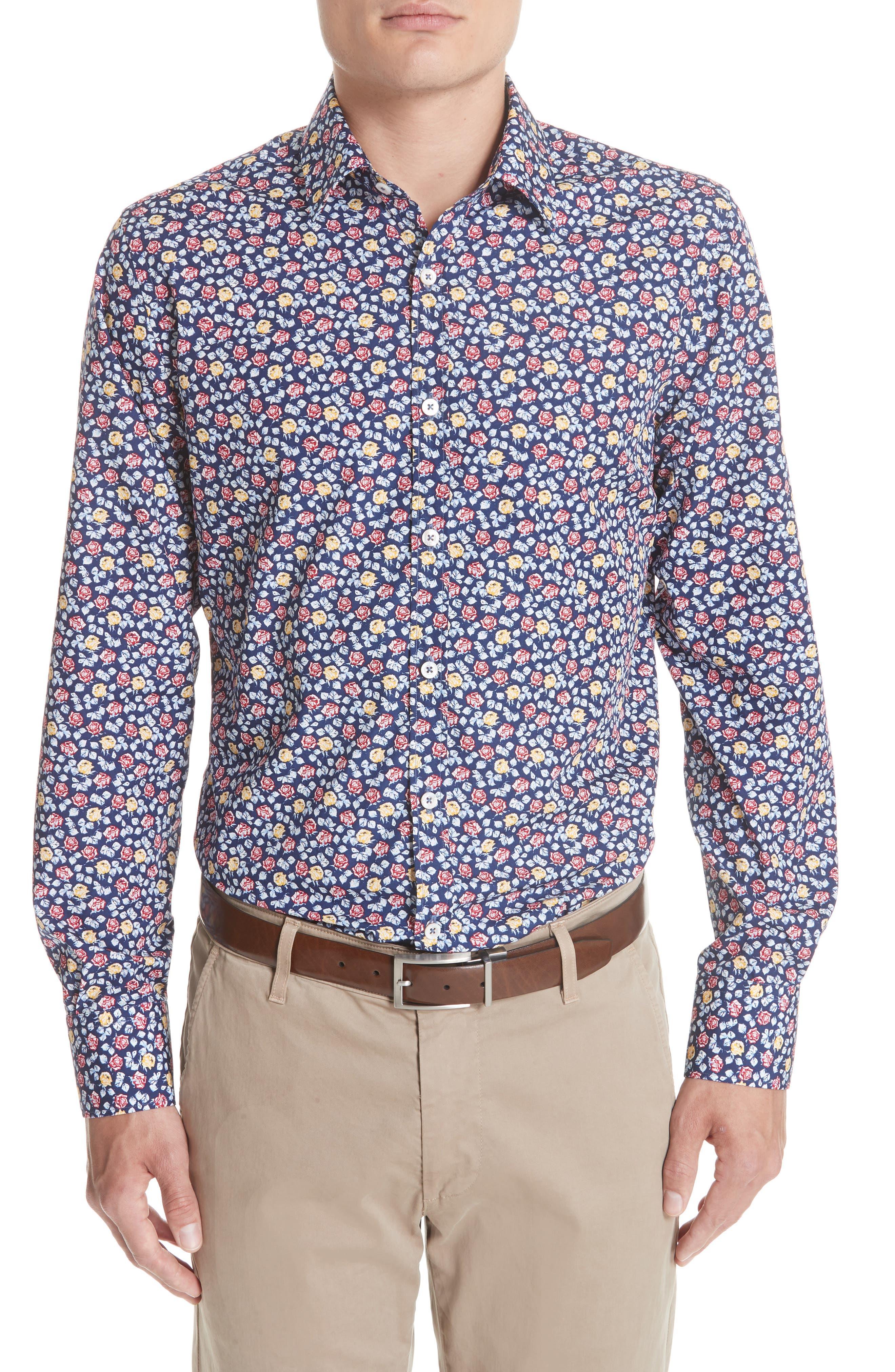 Regular Fit Floral Sport Shirt,                         Main,                         color, Blue