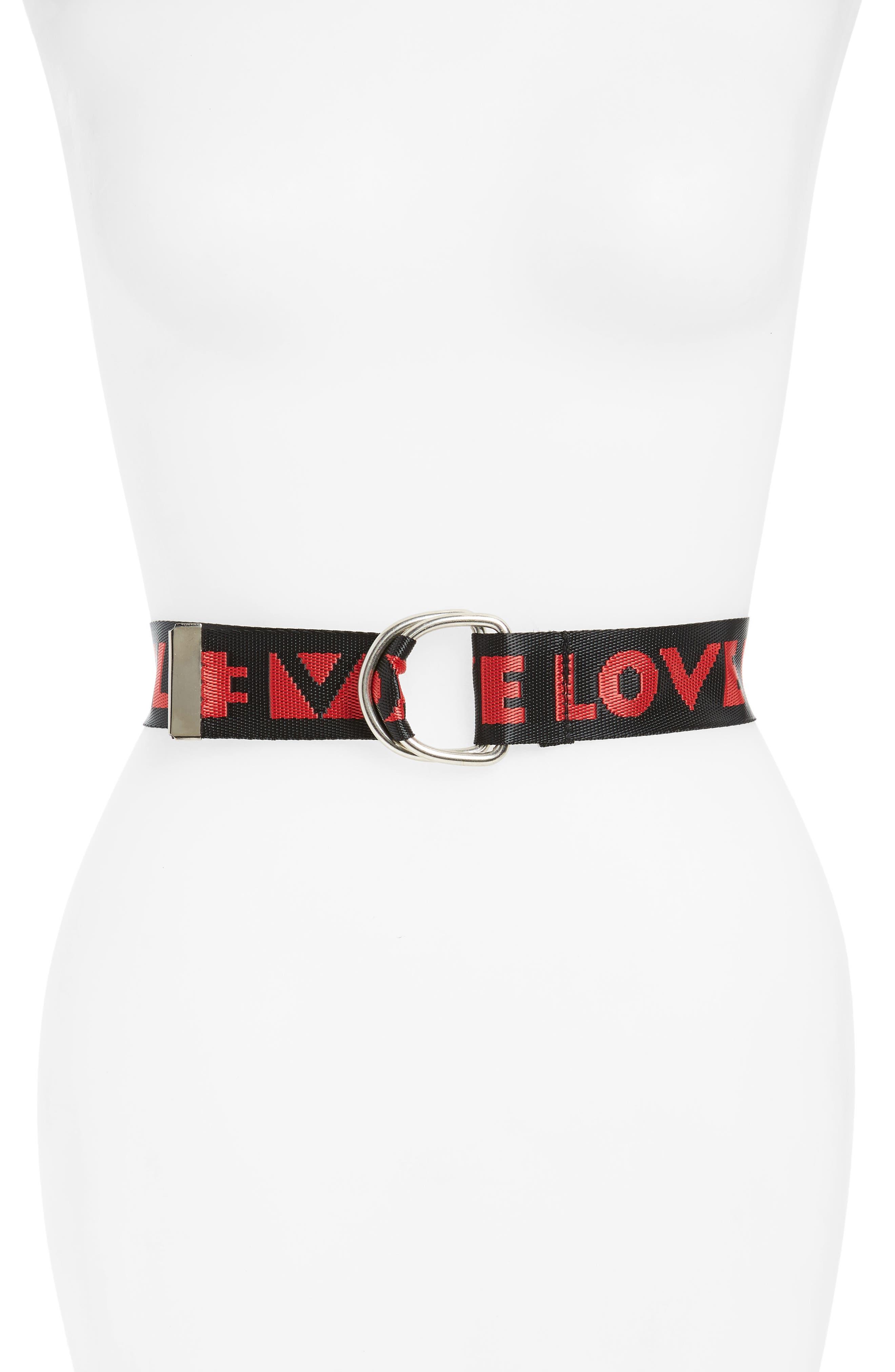 Love Web Slider Belt,                             Main thumbnail 1, color,                             Red Black