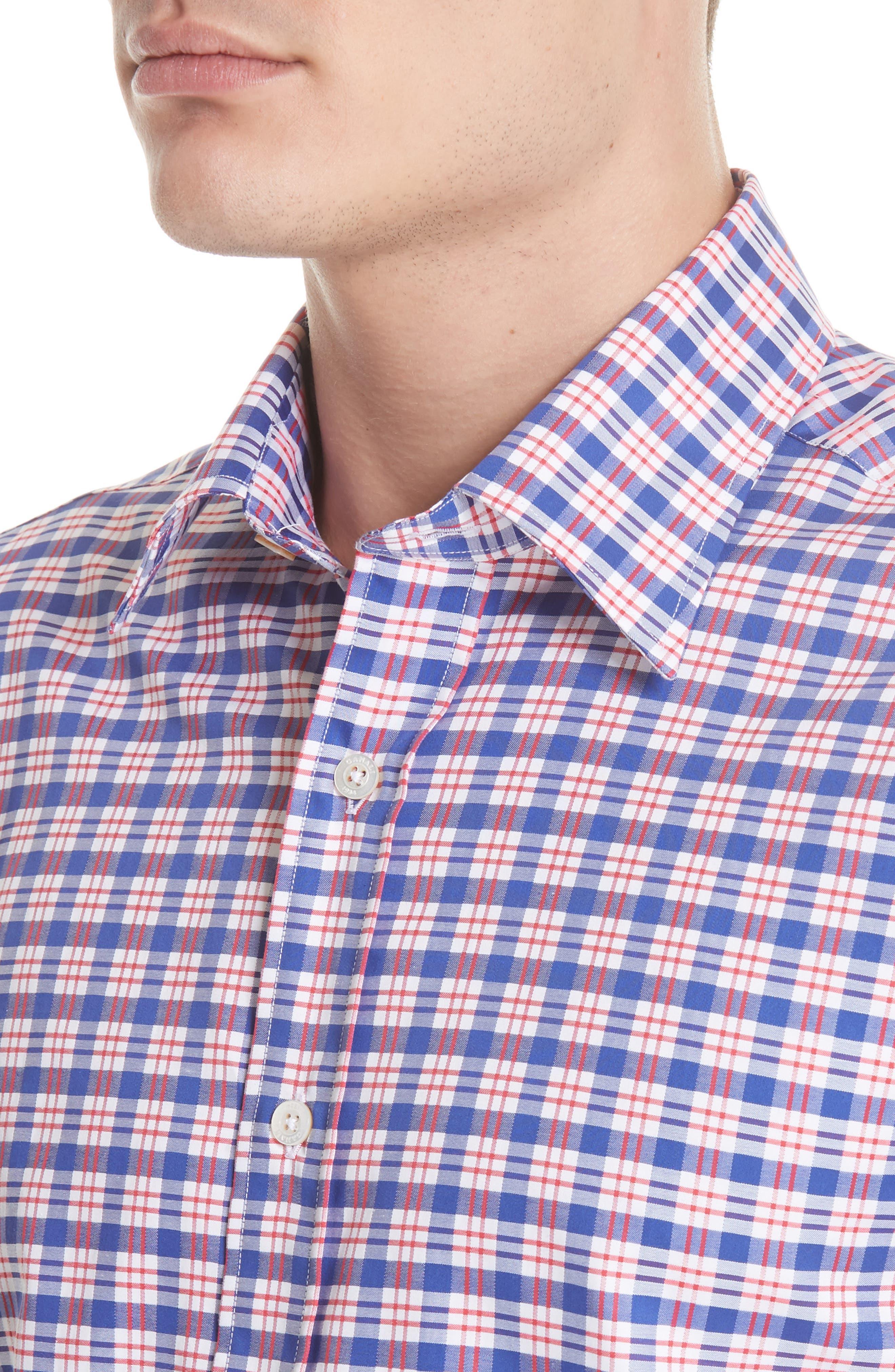 Regular Fit Plaid Sport Shirt,                             Alternate thumbnail 2, color,                             Red