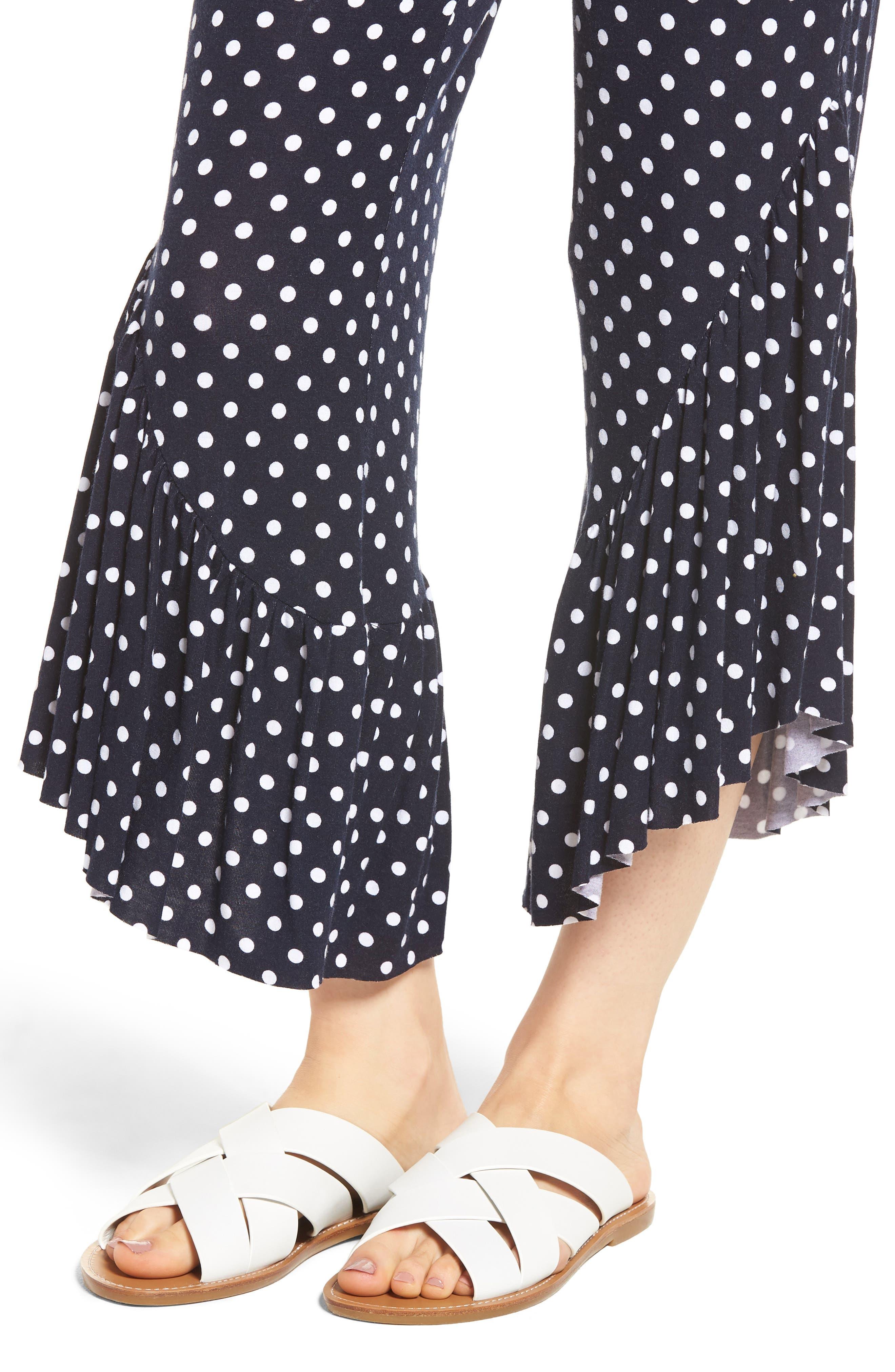 Ruffle Hem Wide Leg Crop Pants,                             Alternate thumbnail 4, color,                             Navy/ White Polka Dot