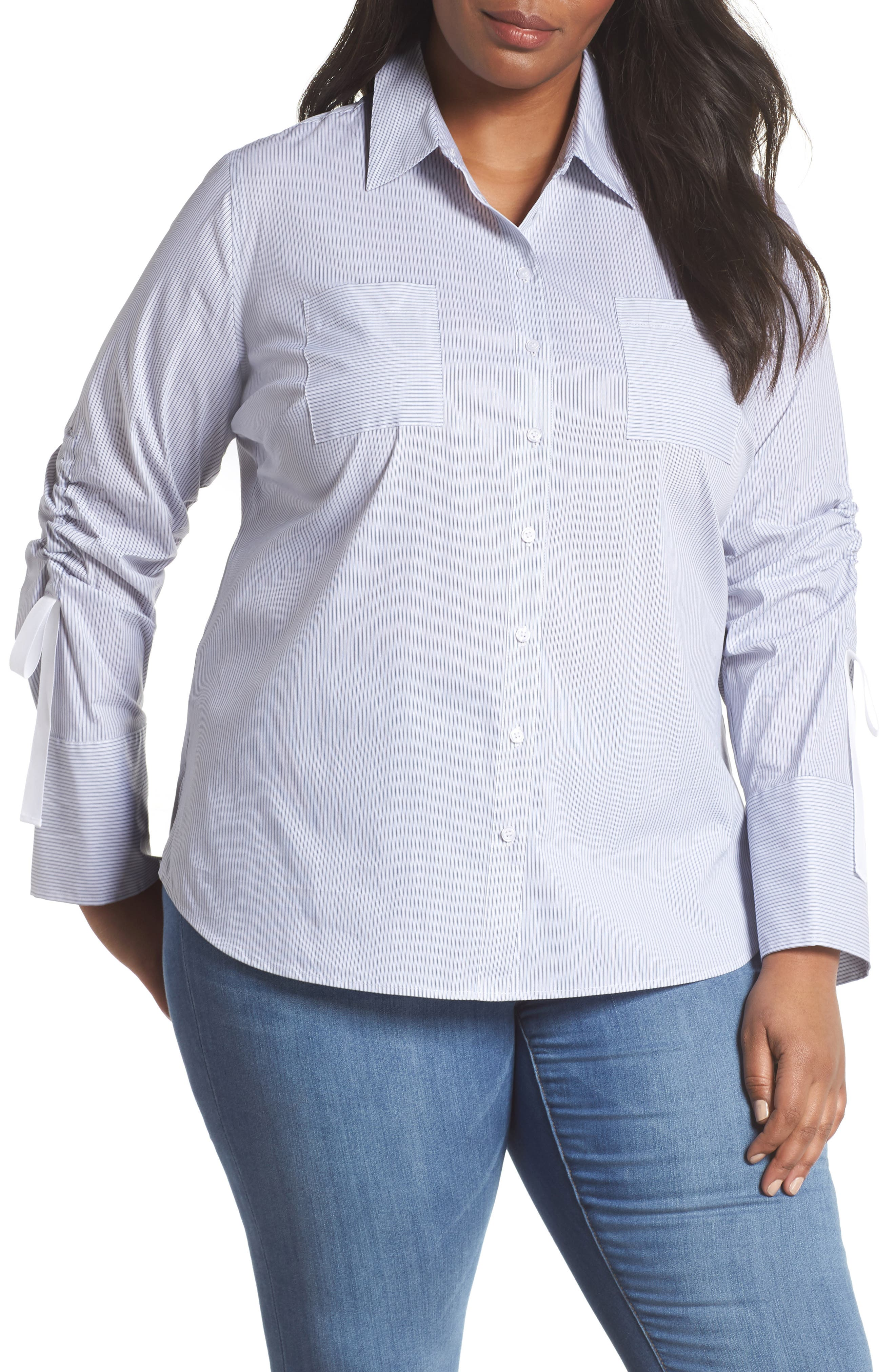 Gathered Sleeve Button Front Shirt,                         Main,                         color, Blue/ White Stripe
