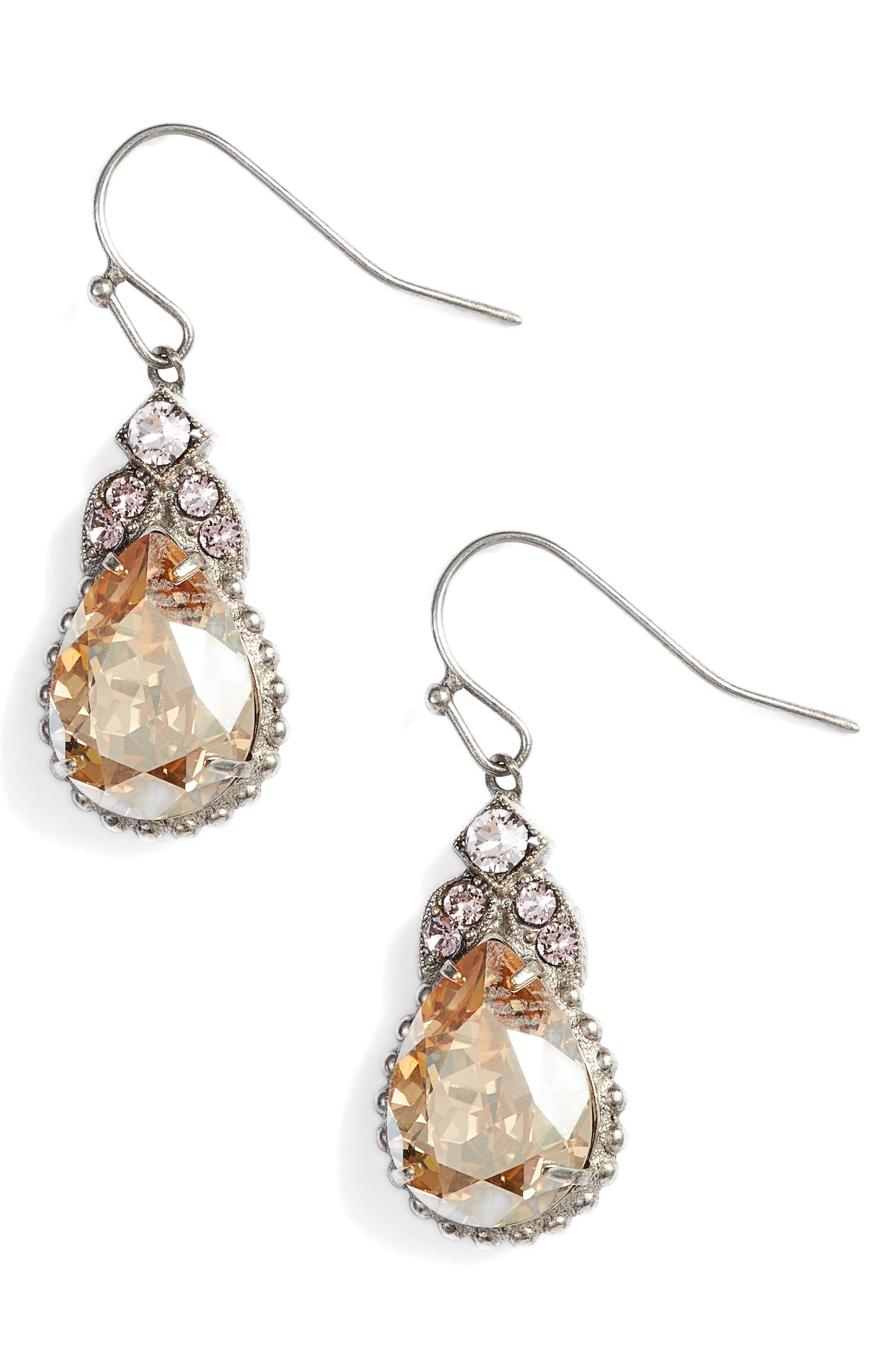 Decorative Deco Crystal Drop Earrings,                         Main,                         color, Pink