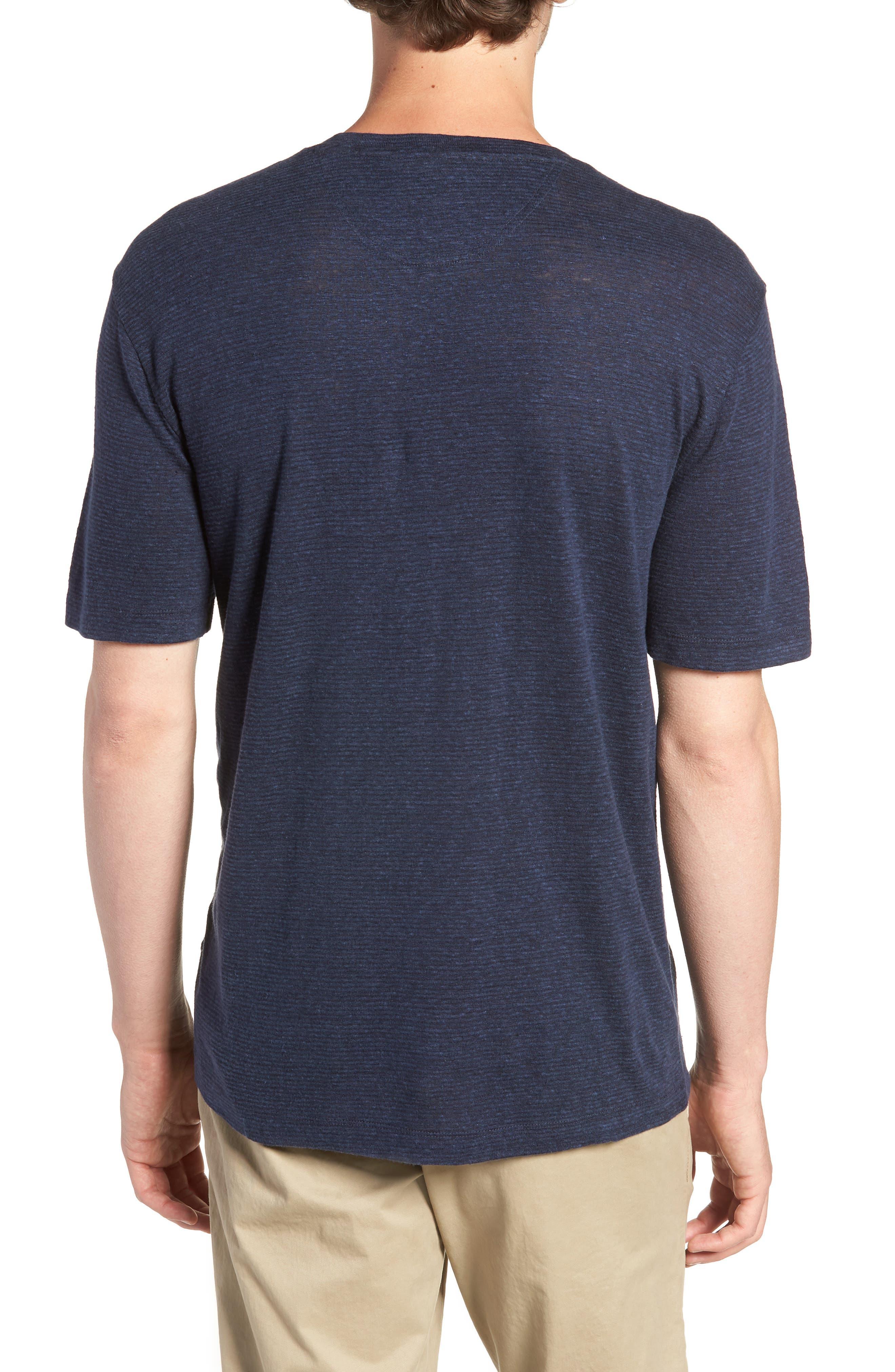 Linen Blend Jersey T-Shirt,                             Alternate thumbnail 2, color,                             Navy Iris Heather