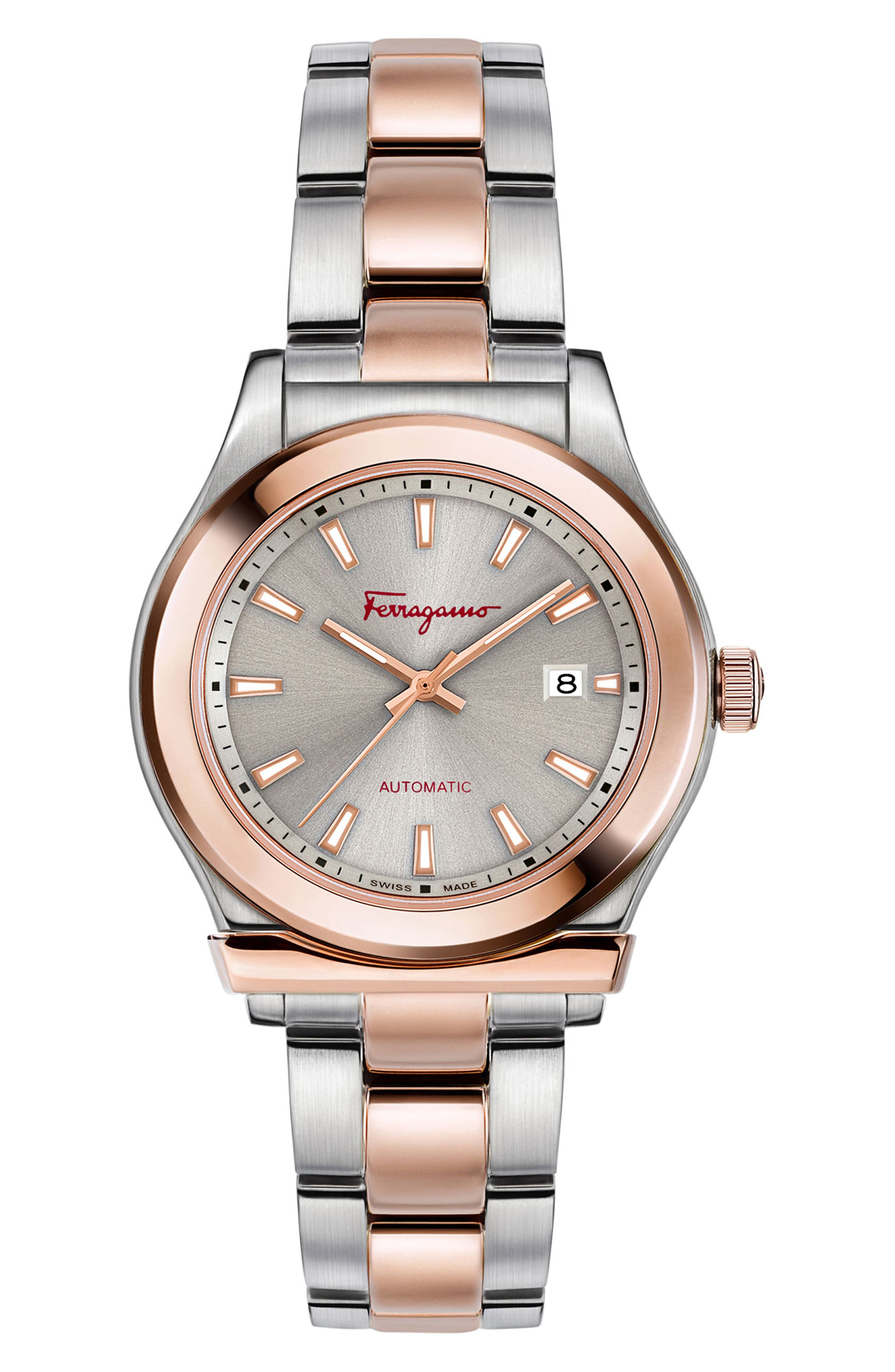 1898 Bracelet Watch, 33mm,                             Main thumbnail 1, color,                             Silver/ Brown/ Rose Gold