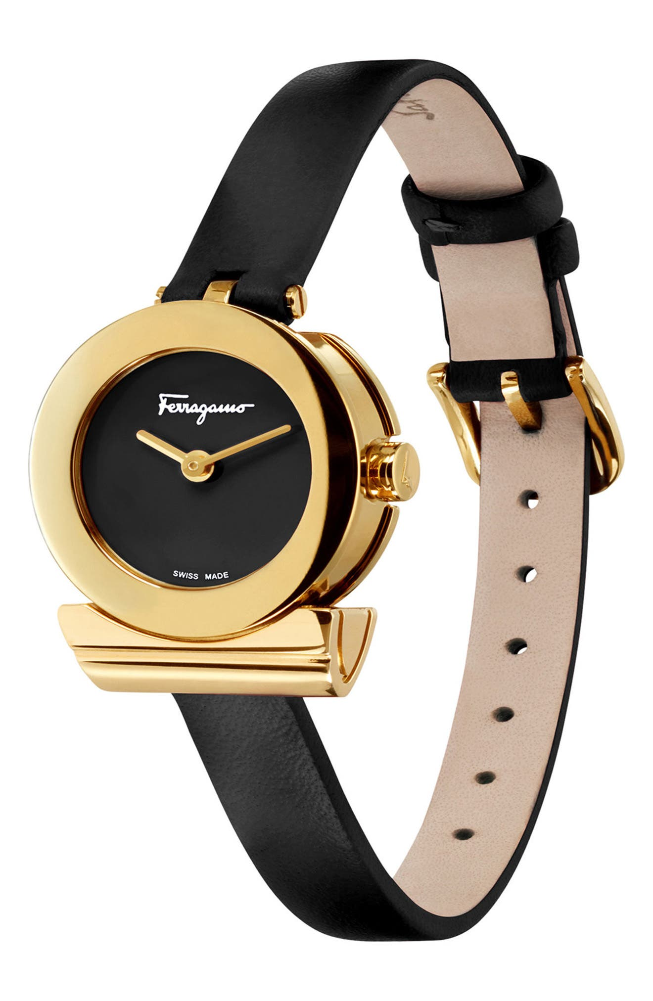 Gancino Leather Strap Watch, 22mm,                             Alternate thumbnail 4, color,                             Black/ Gold