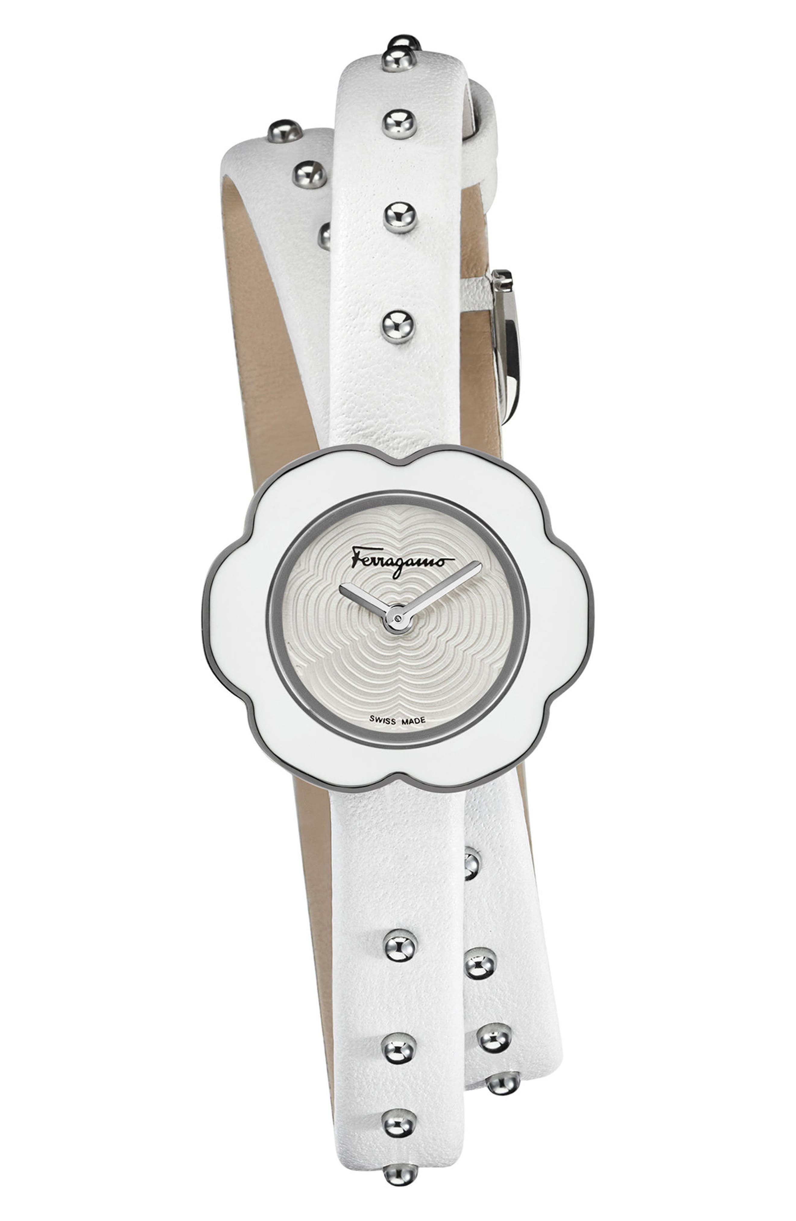 Fiore Leather Strap Watch, 24mm,                             Alternate thumbnail 4, color,                             White/ Silver