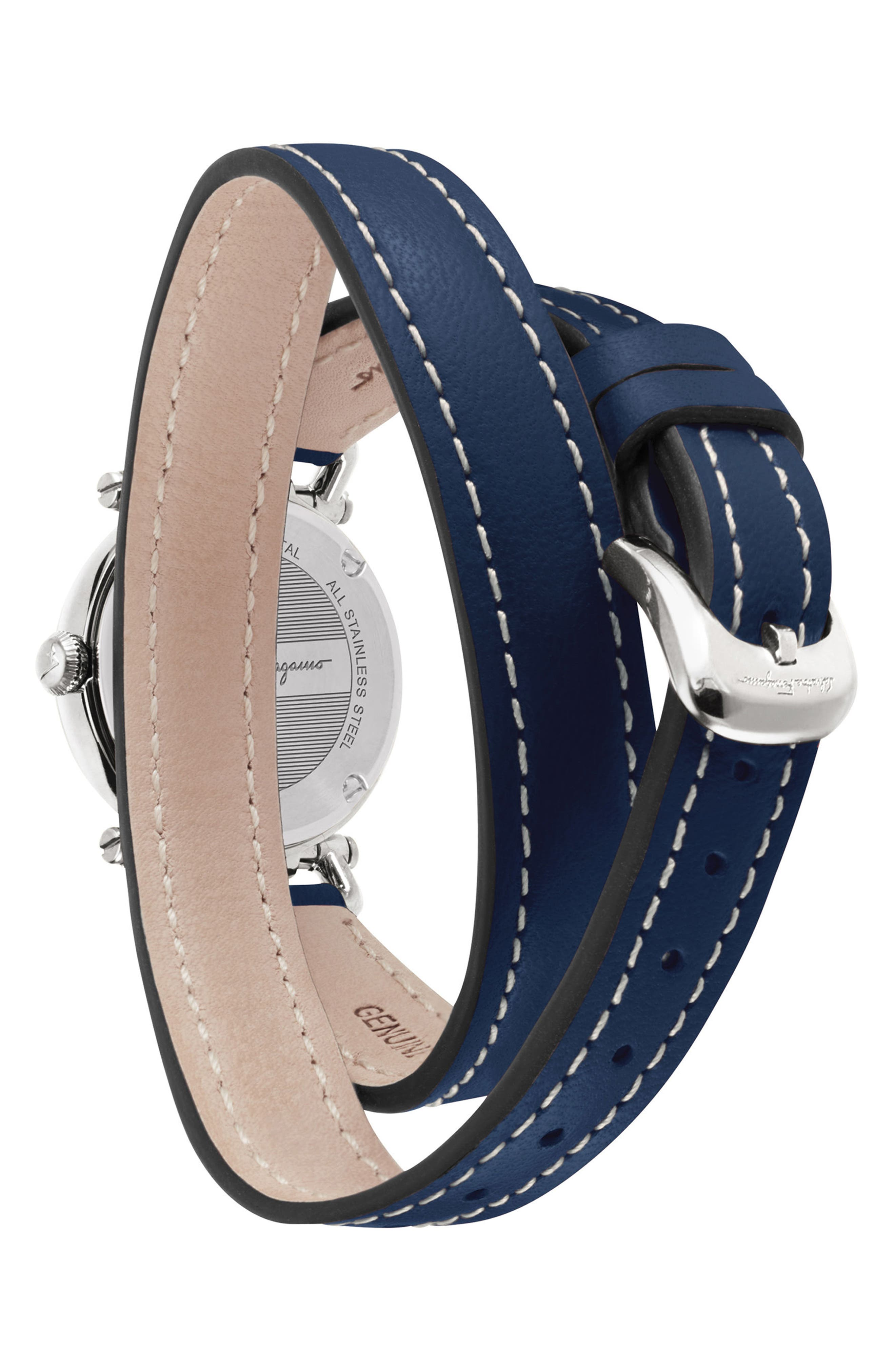 Gancino Leather Strap Watch, 26mm,                             Alternate thumbnail 2, color,                             Blue/ Silver