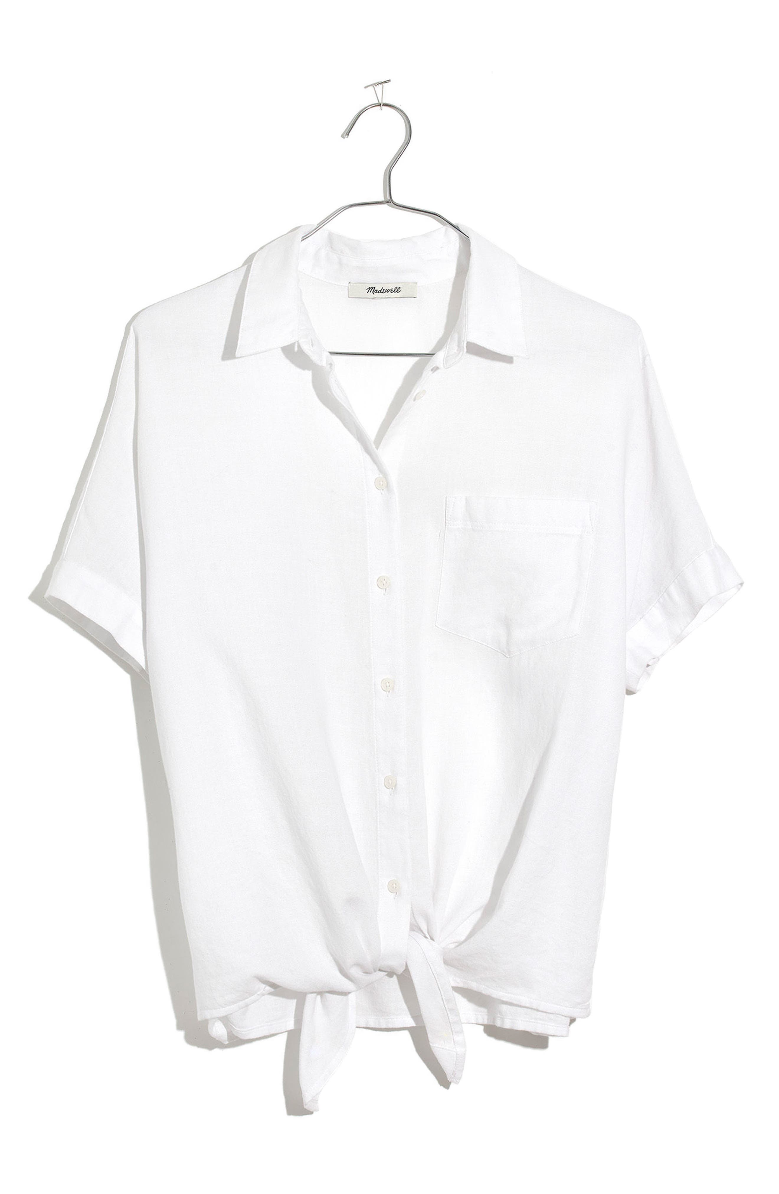 Short Sleeve Tie Front Shirt,                             Alternate thumbnail 3, color,                             Eyelet White