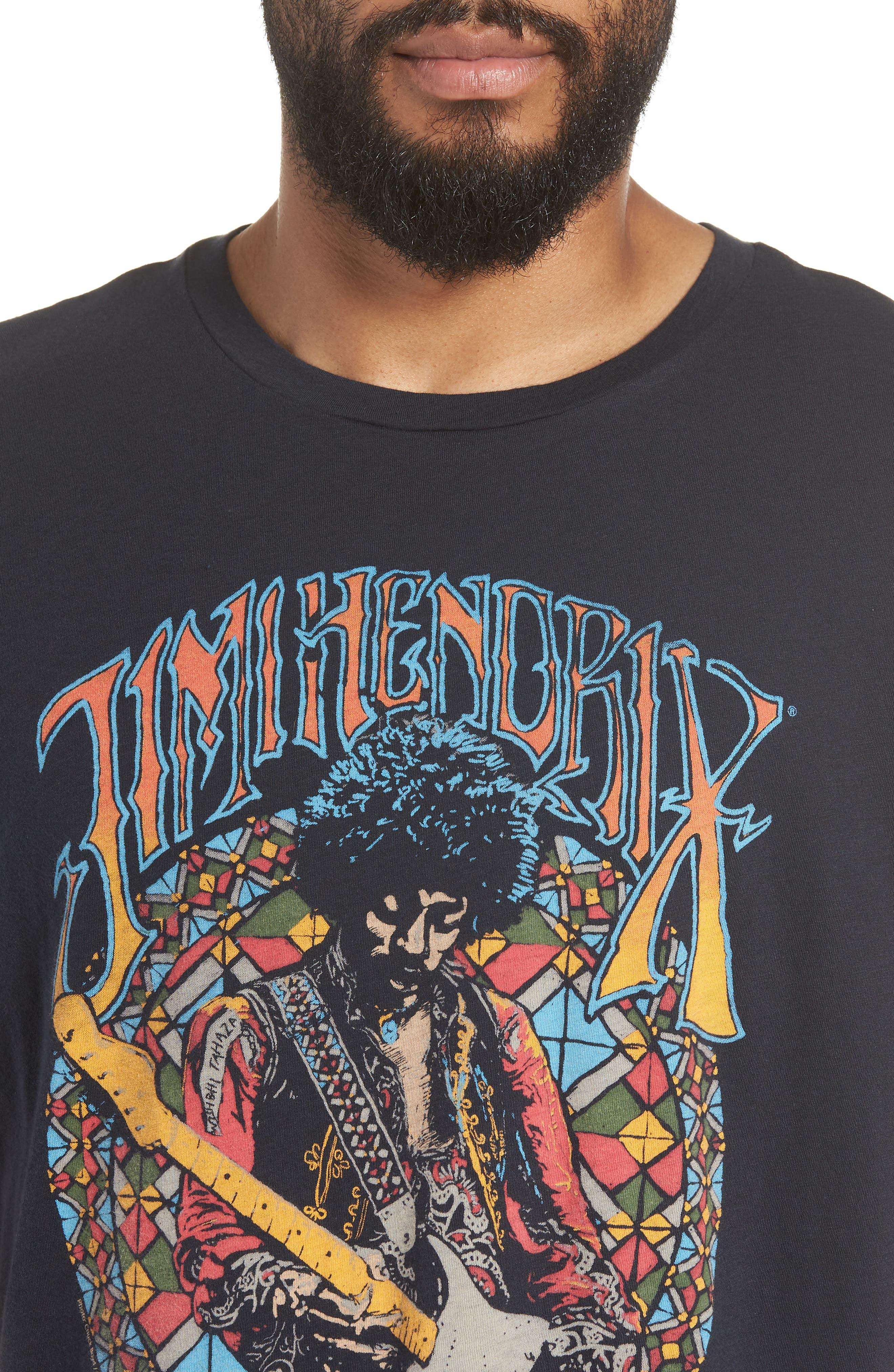 Jimi Hendrix Trim Fit T-Shirt,                             Alternate thumbnail 4, color,                             Black Rock Hendrix