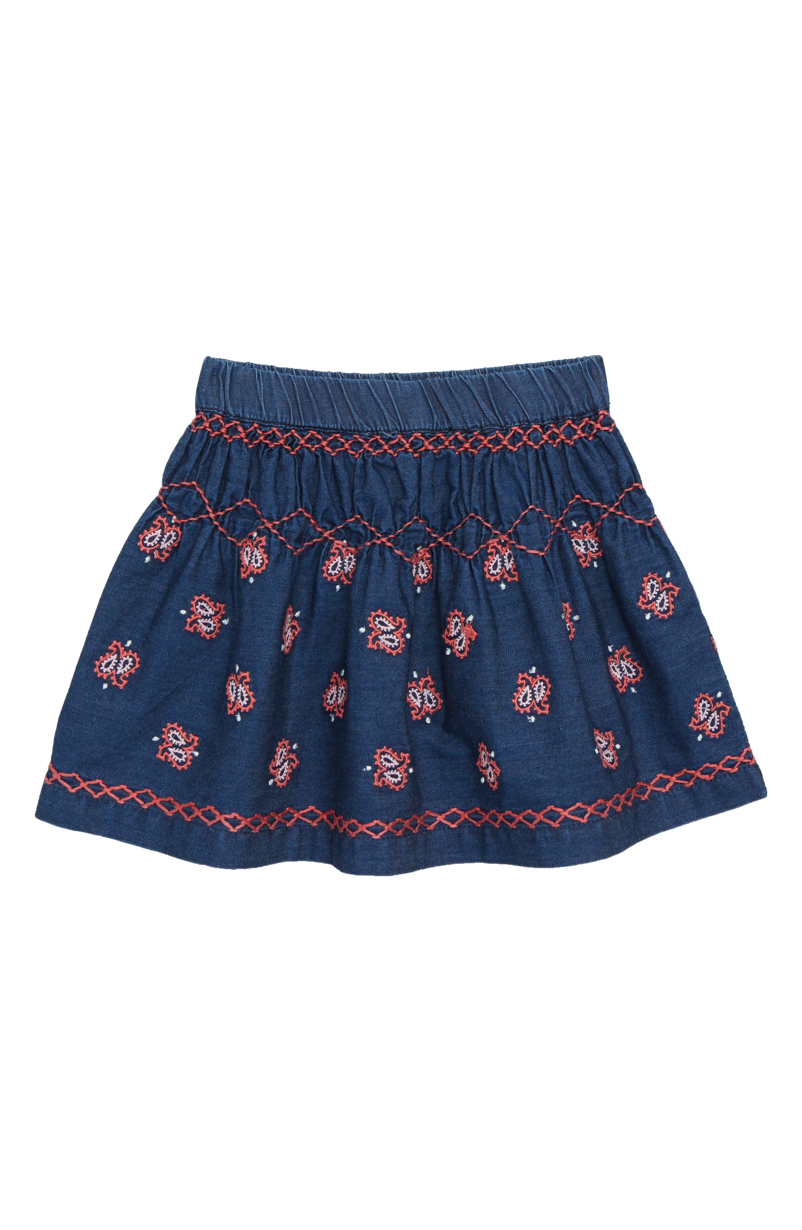 Grace Embroidered Denim Skirt,                             Main thumbnail 1, color,                             Indigo