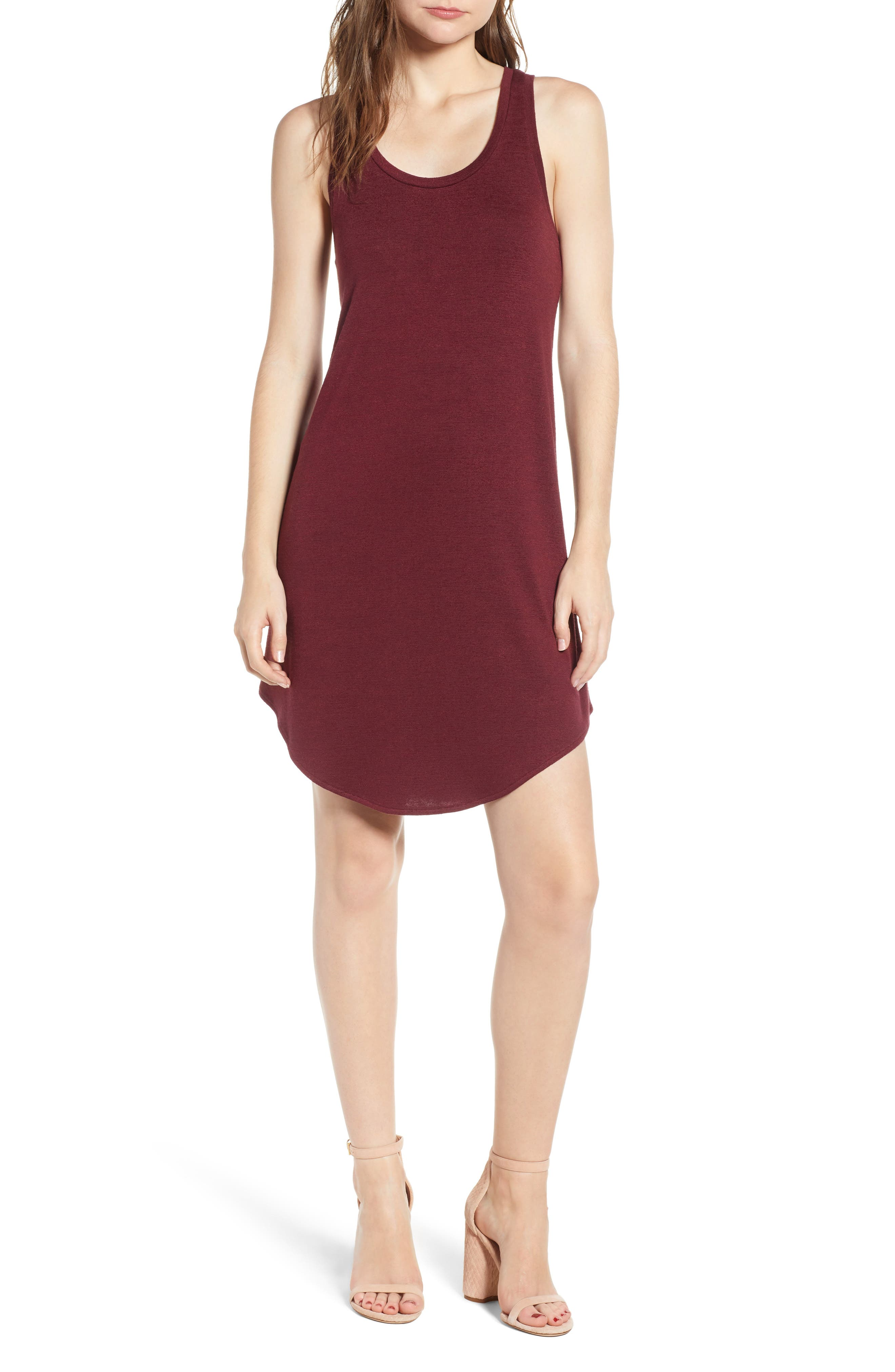 Tank Shift Dress,                             Main thumbnail 1, color,                             Red Tannin
