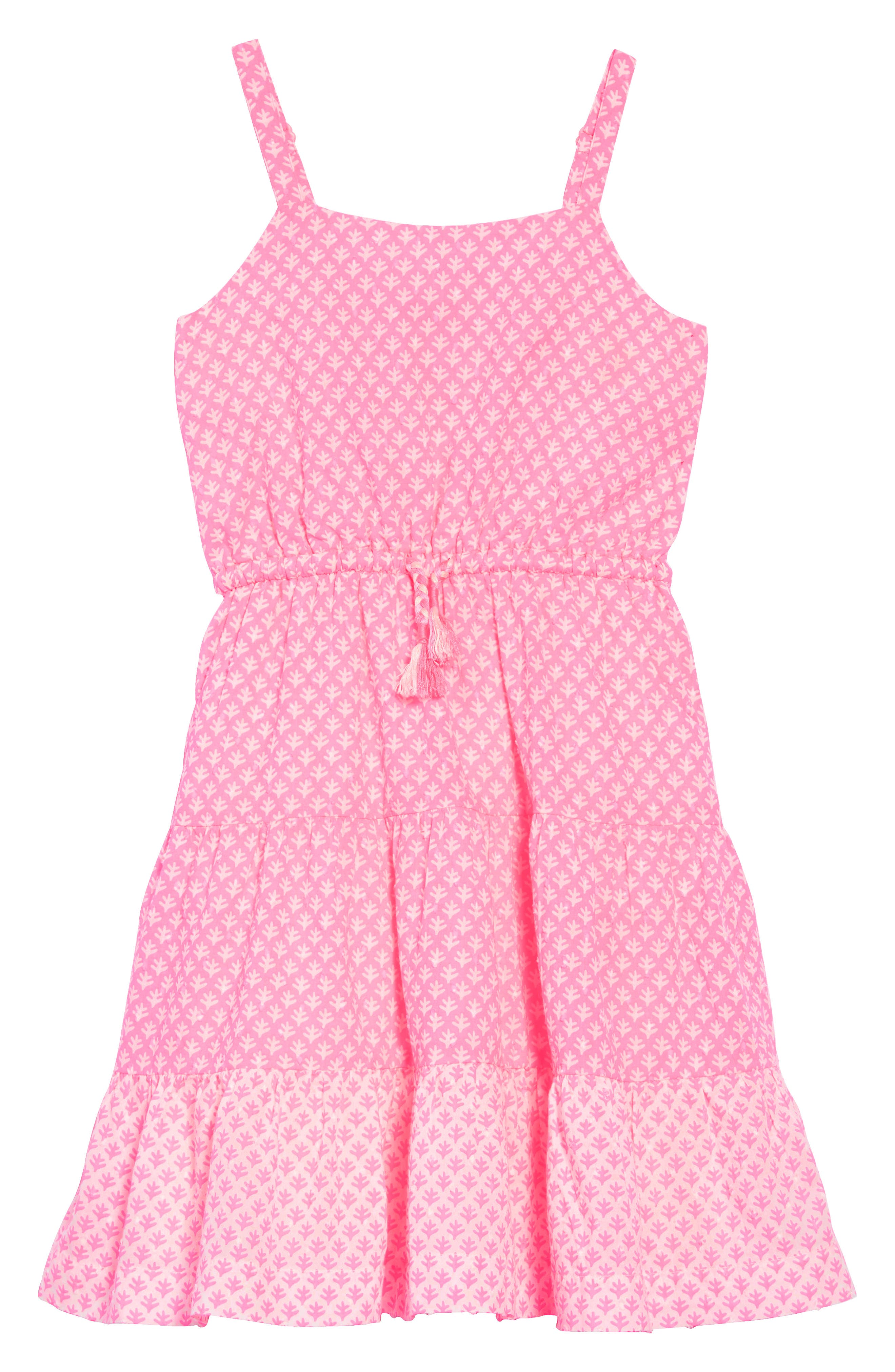 Tiered Strappy Woven Dress,                             Main thumbnail 1, color,                             Knockout Pink/ Ivory Geo Coral