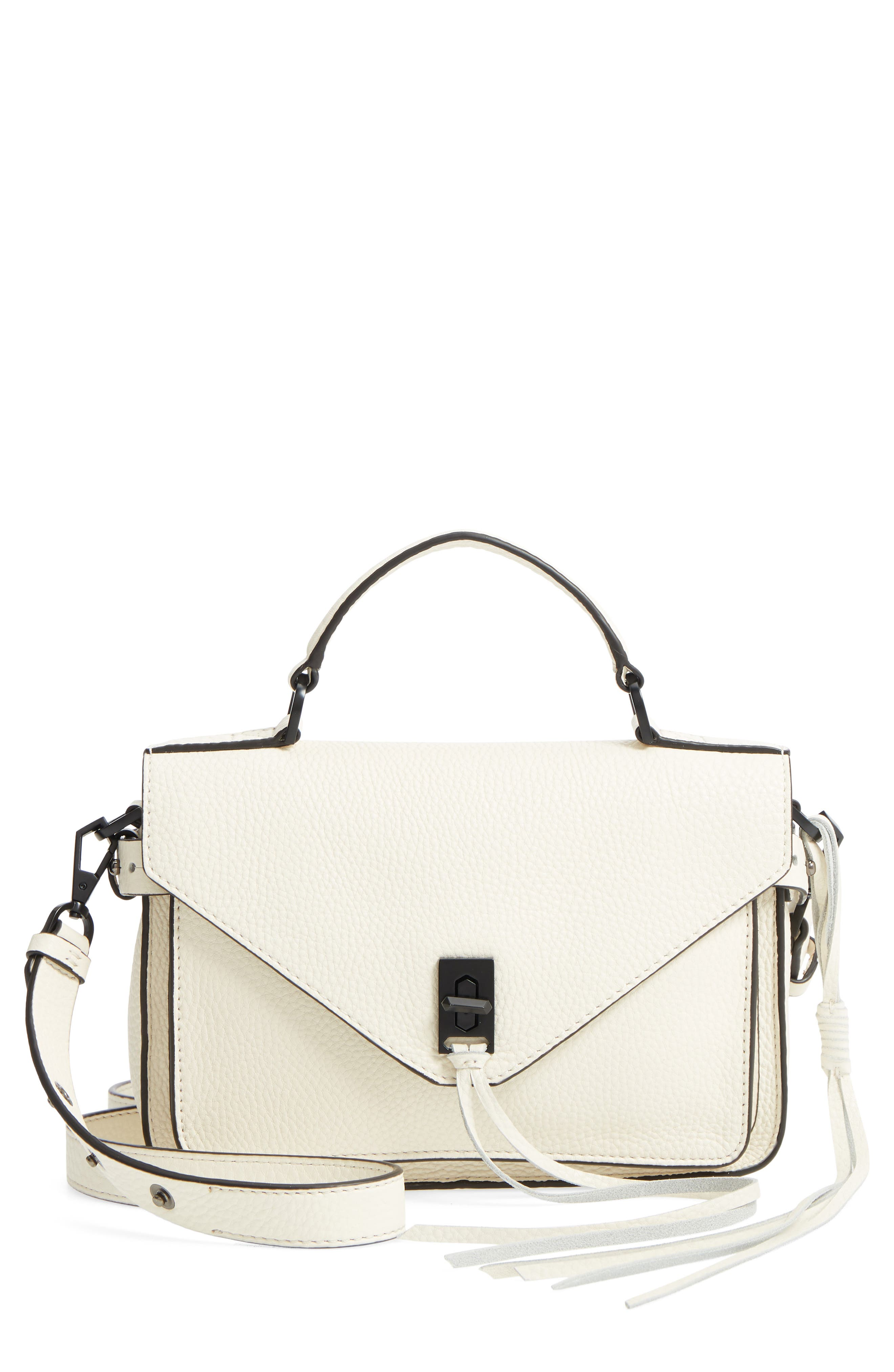 'Small Darren' Leather Messenger Bag,                         Main,                         color, Antique White