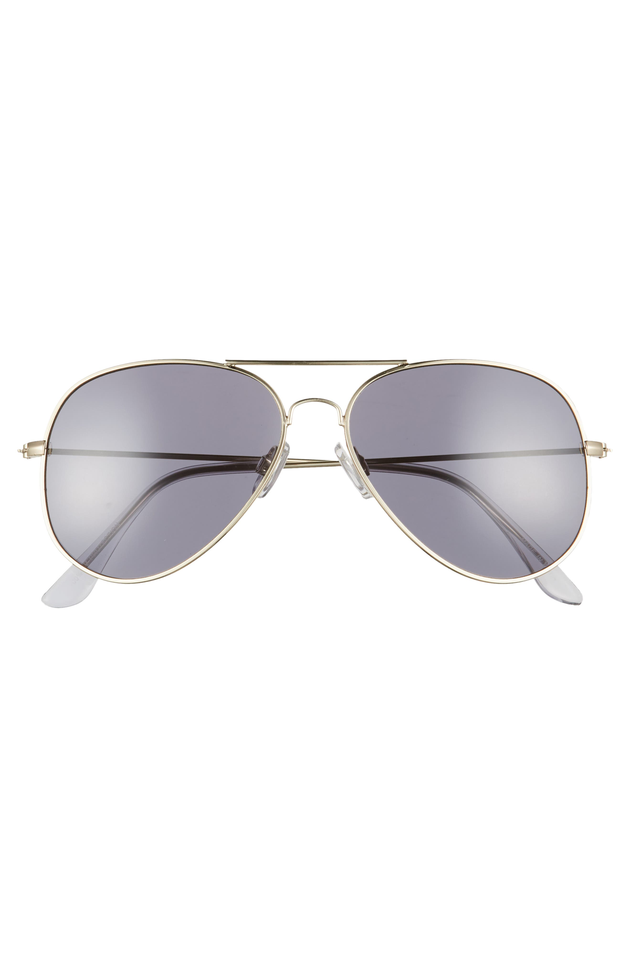 Mirrored Aviator 57mm Sunglasses,                             Alternate thumbnail 3, color,                             Gold/ Smoke