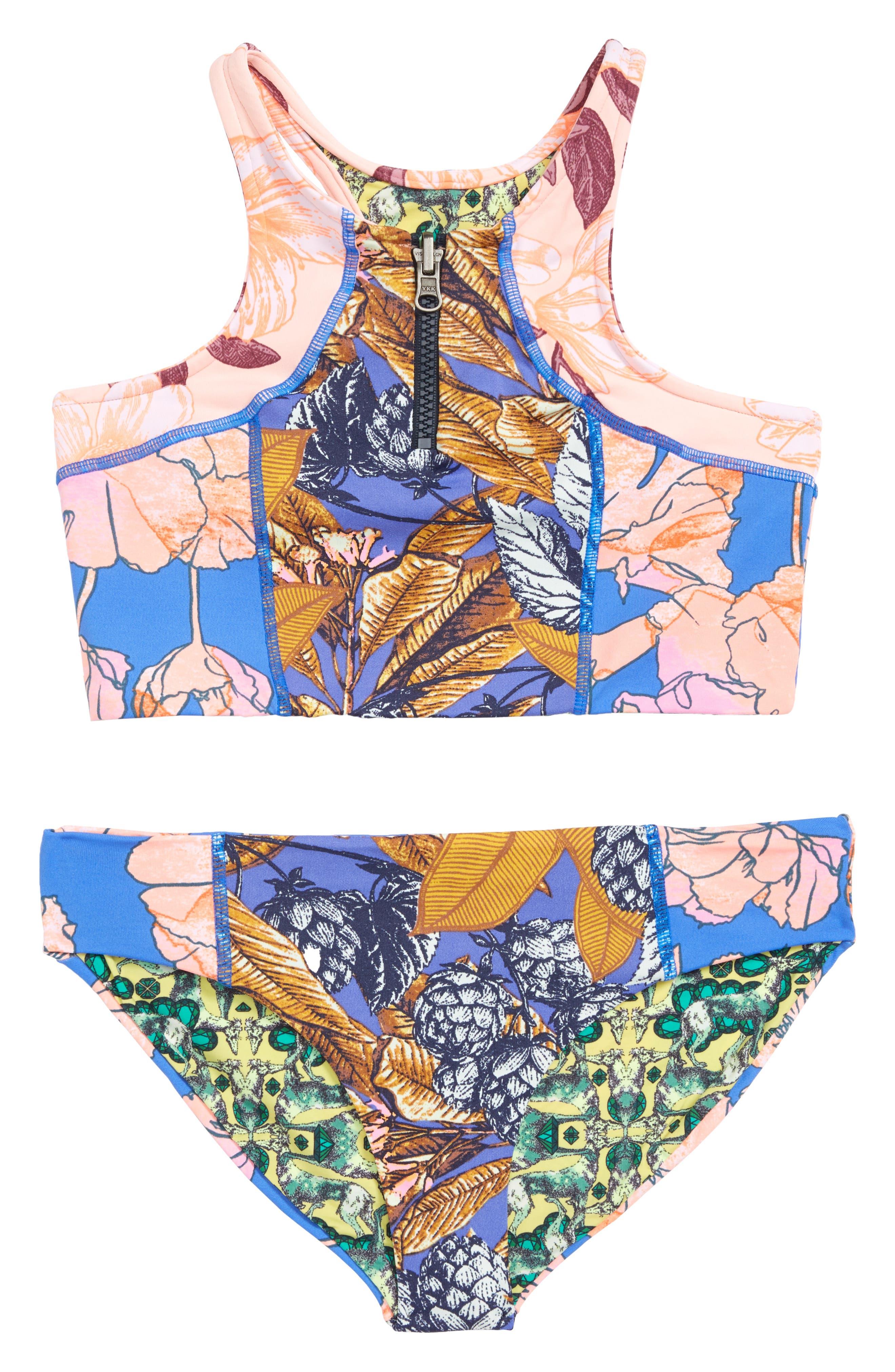 Baker Beach Reversible Two-Piece High Neck Swimsuit,                         Main,                         color, Blue