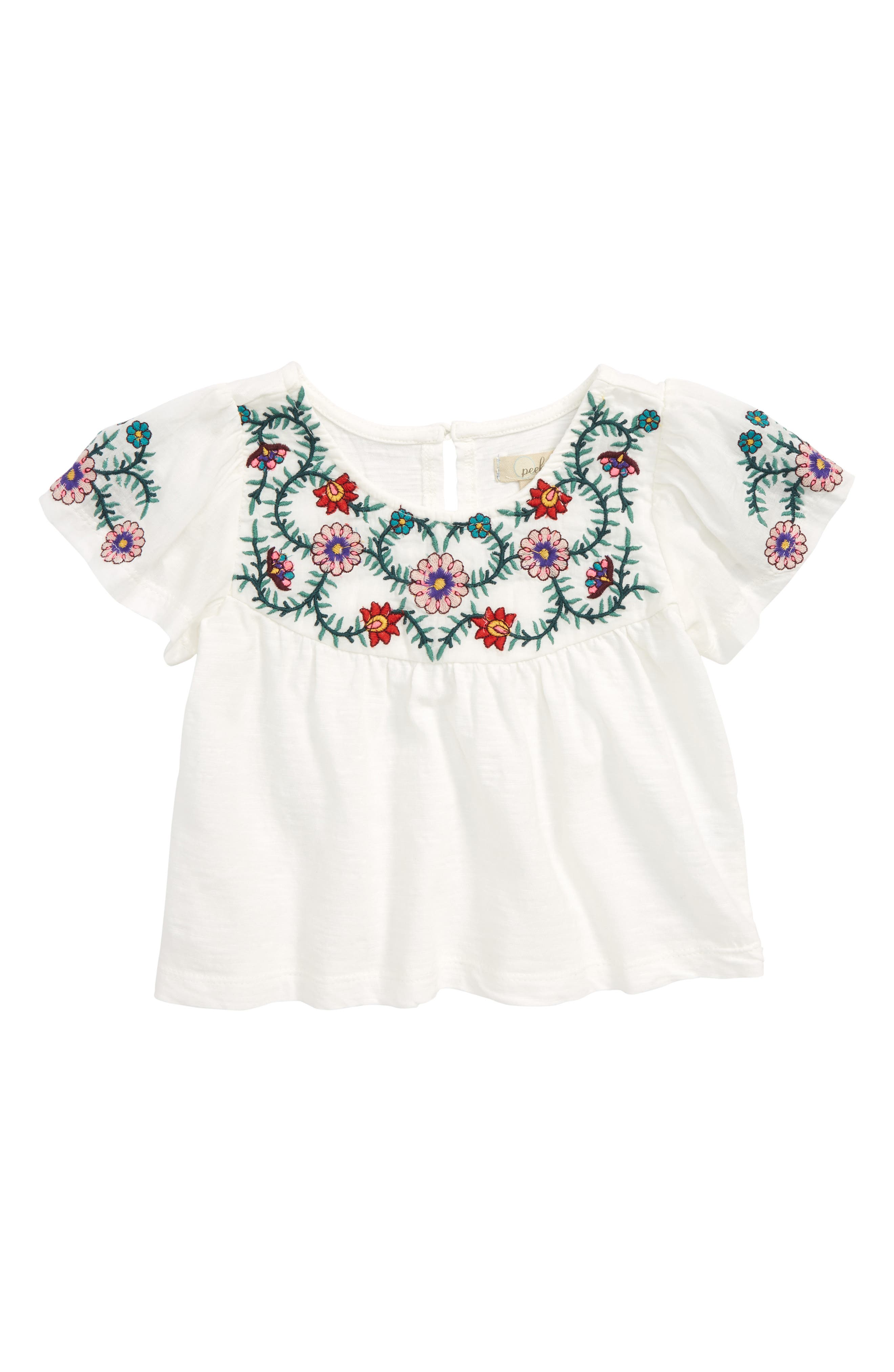 Stella Embroidered Peasant Top,                             Main thumbnail 1, color,                             Ivory