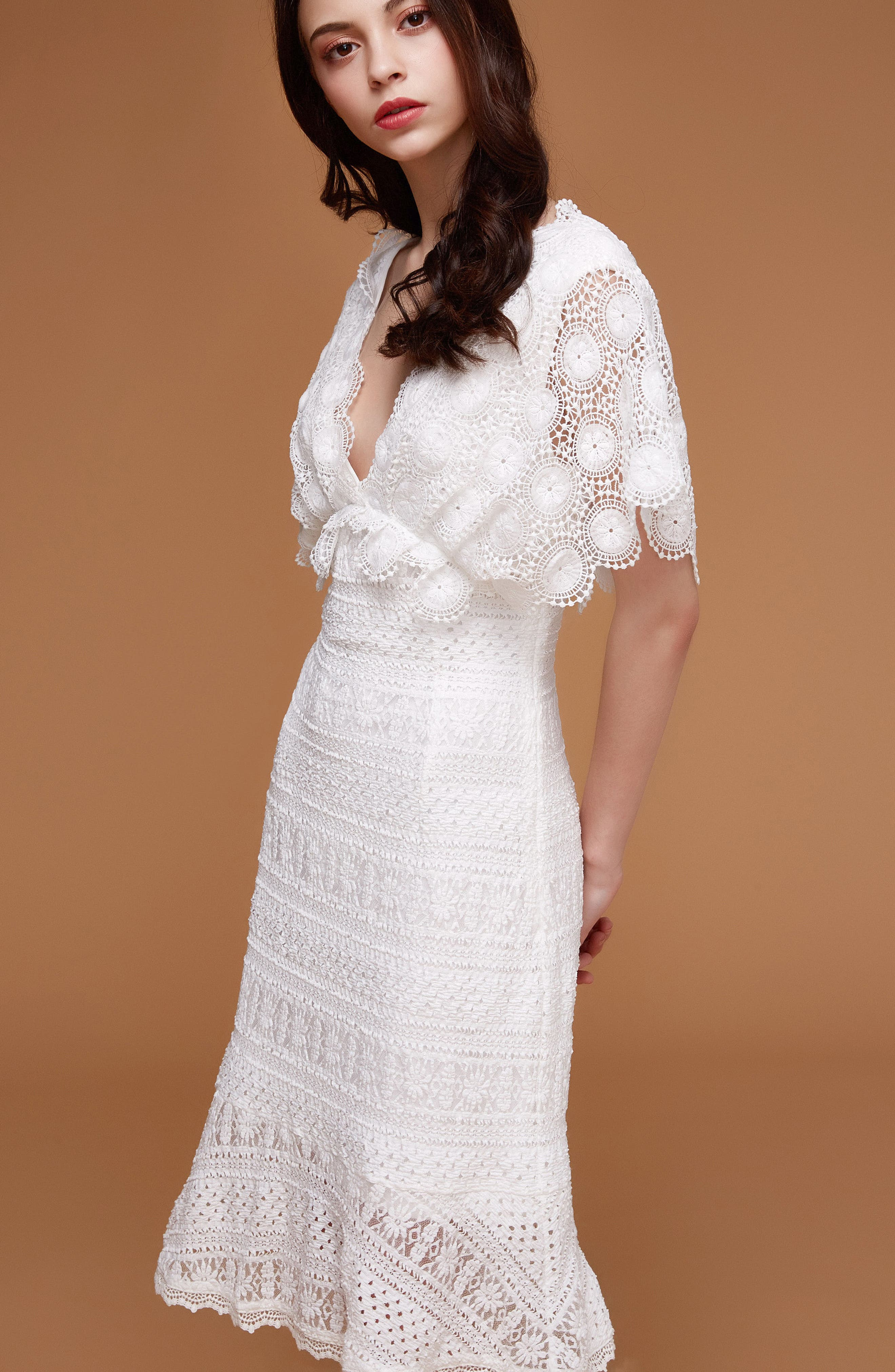 Mavis Scalloped Lace Dress,                             Alternate thumbnail 2, color,                             Off White