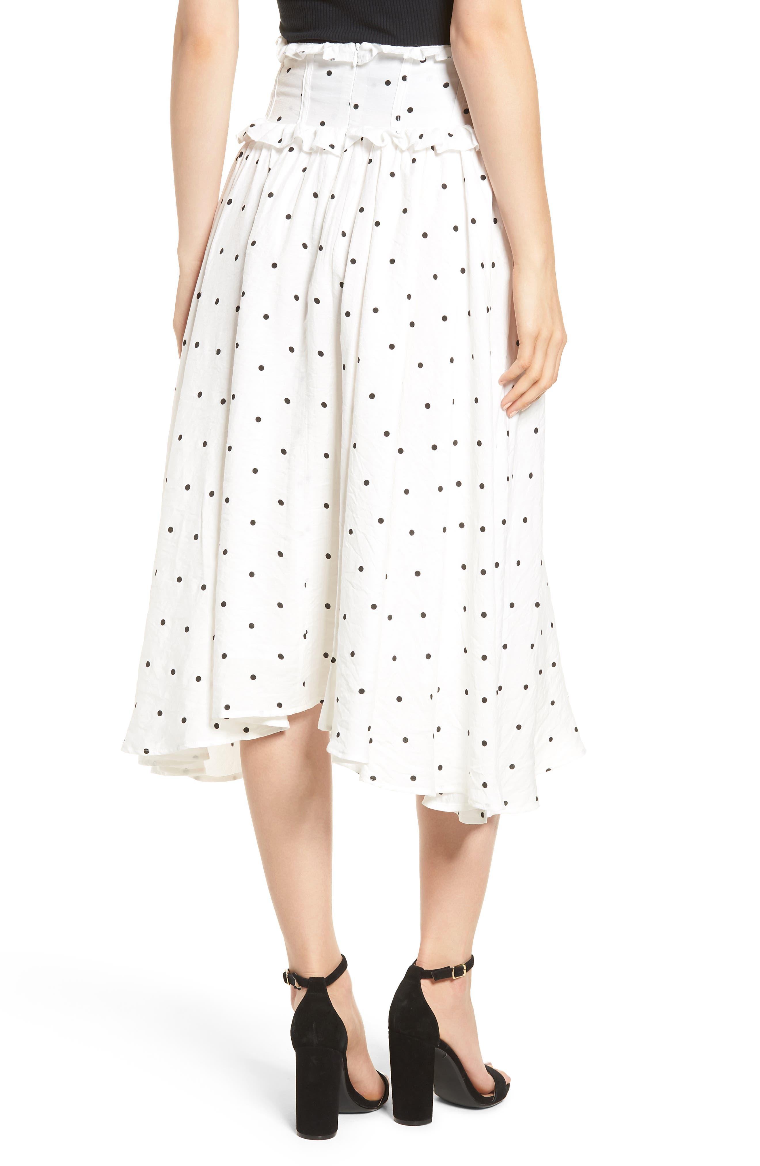 Lace-Up A-Line Skirt,                             Alternate thumbnail 3, color,                             Mono