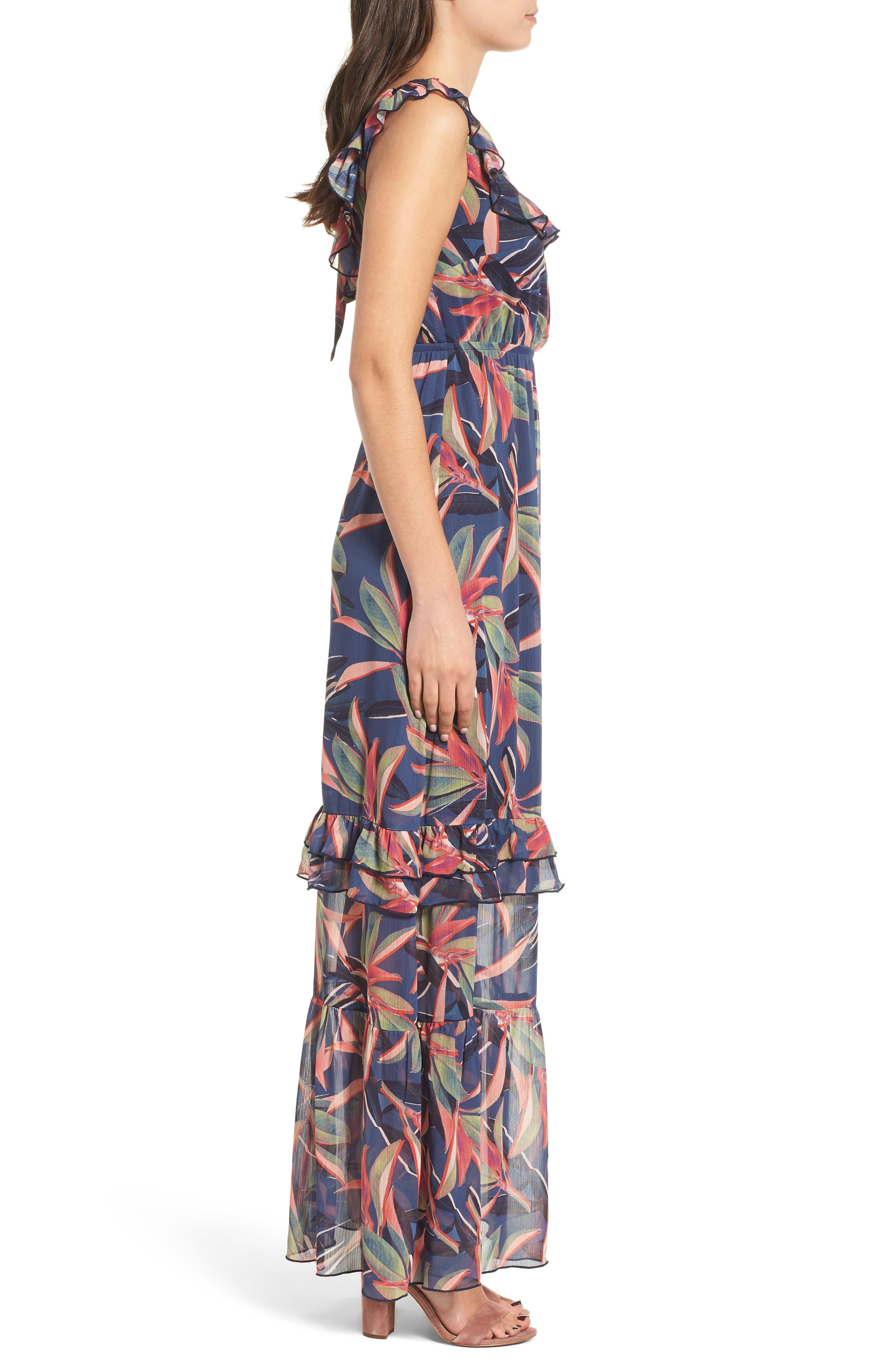 Ruffle Maxi Dress,                             Alternate thumbnail 4, color,                             Multi
